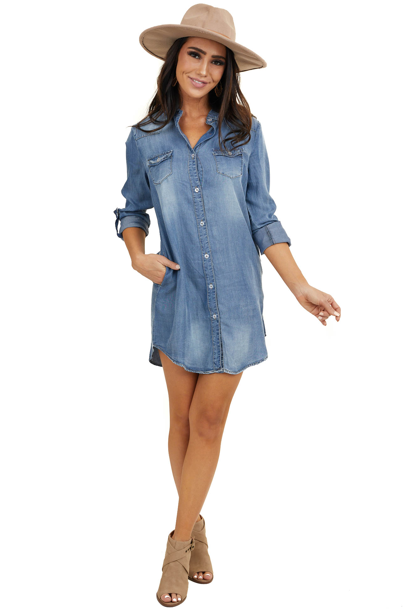 Mid Wash Denim Long Sleeve Button Down Dress with Pockets