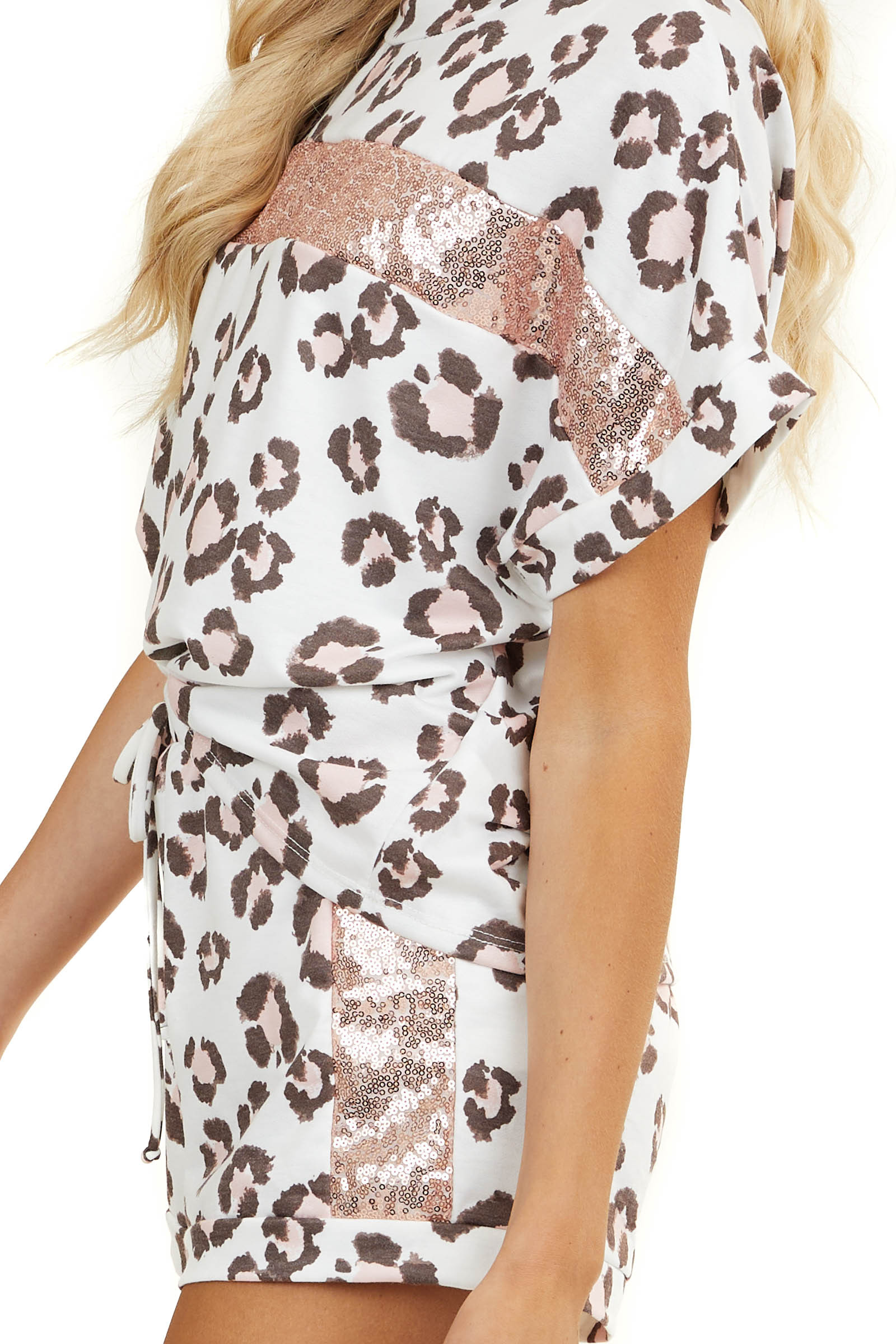 White Leopard Print Soft Knit Top with Blush Sequin Stripe