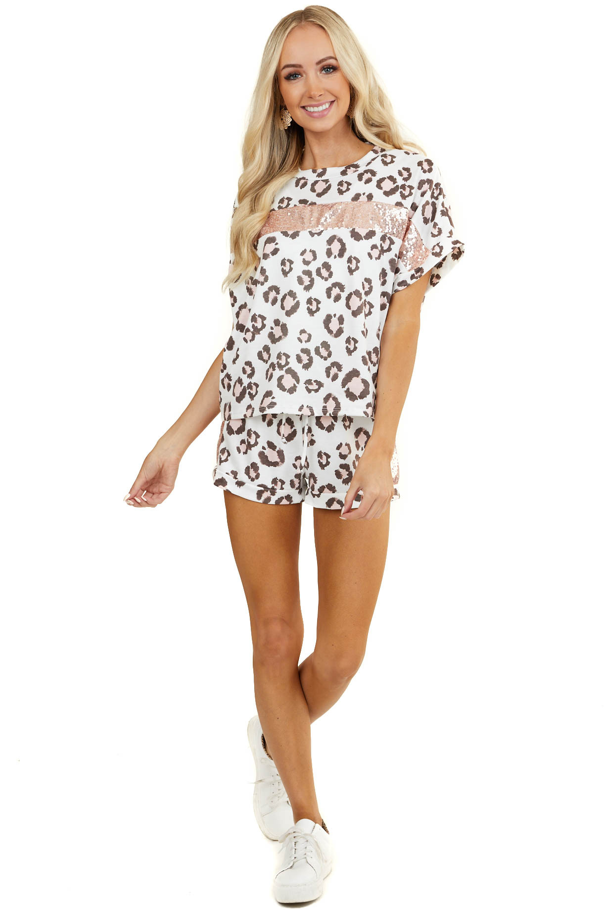 White Leopard Print Knit Shorts with Blush Sequin Stripe