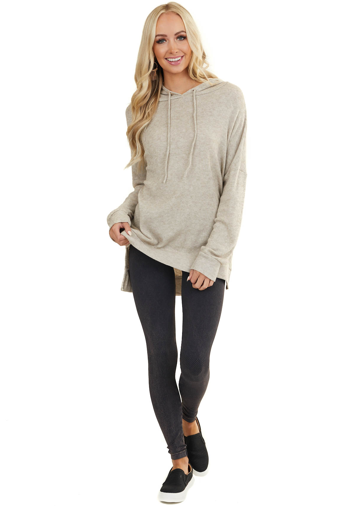 Oatmeal Textured Long Sleeve Sweater with Drawstring Hood