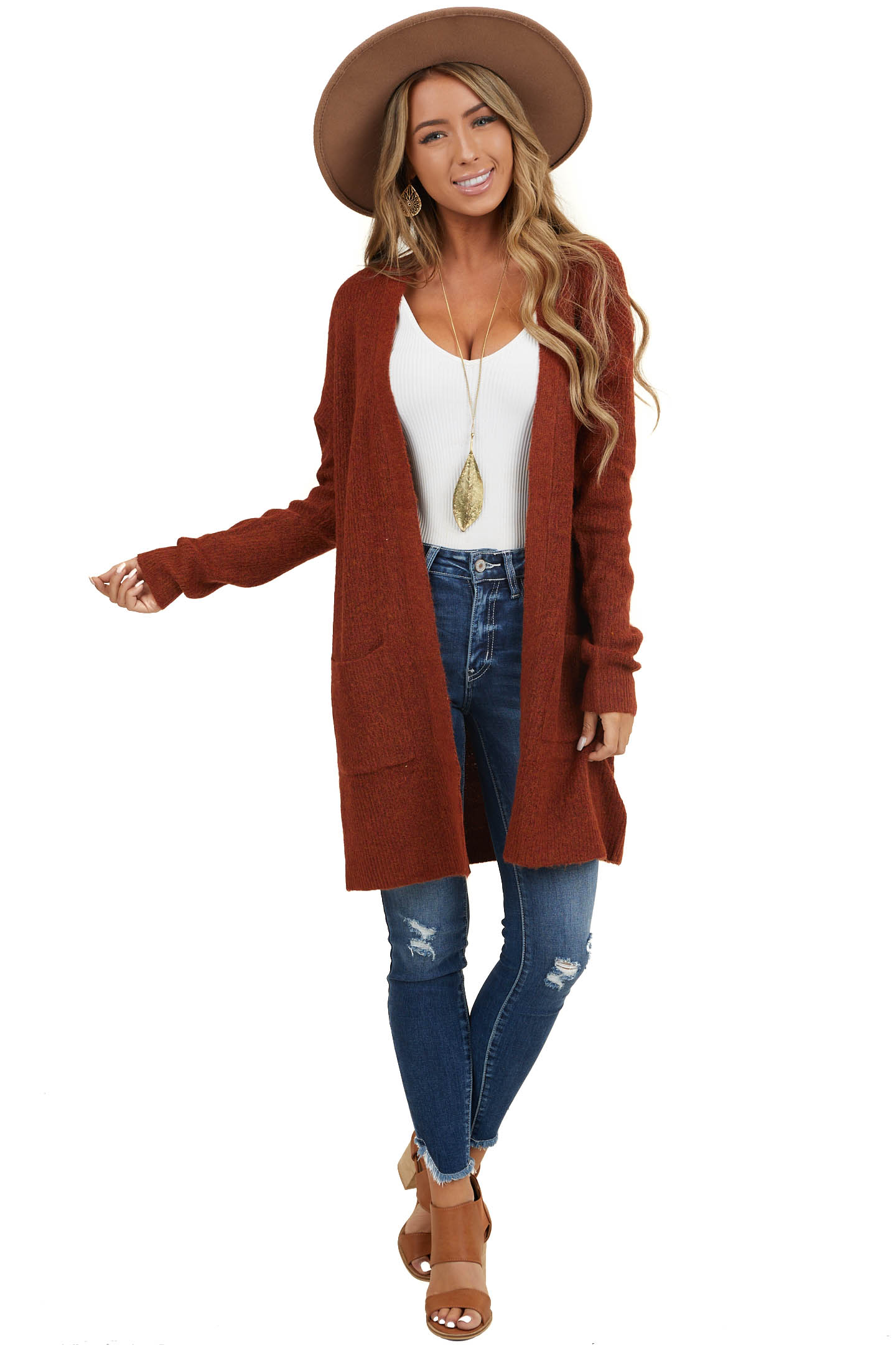 Dark Rust Open Front Sweater Cardigan with Pockets