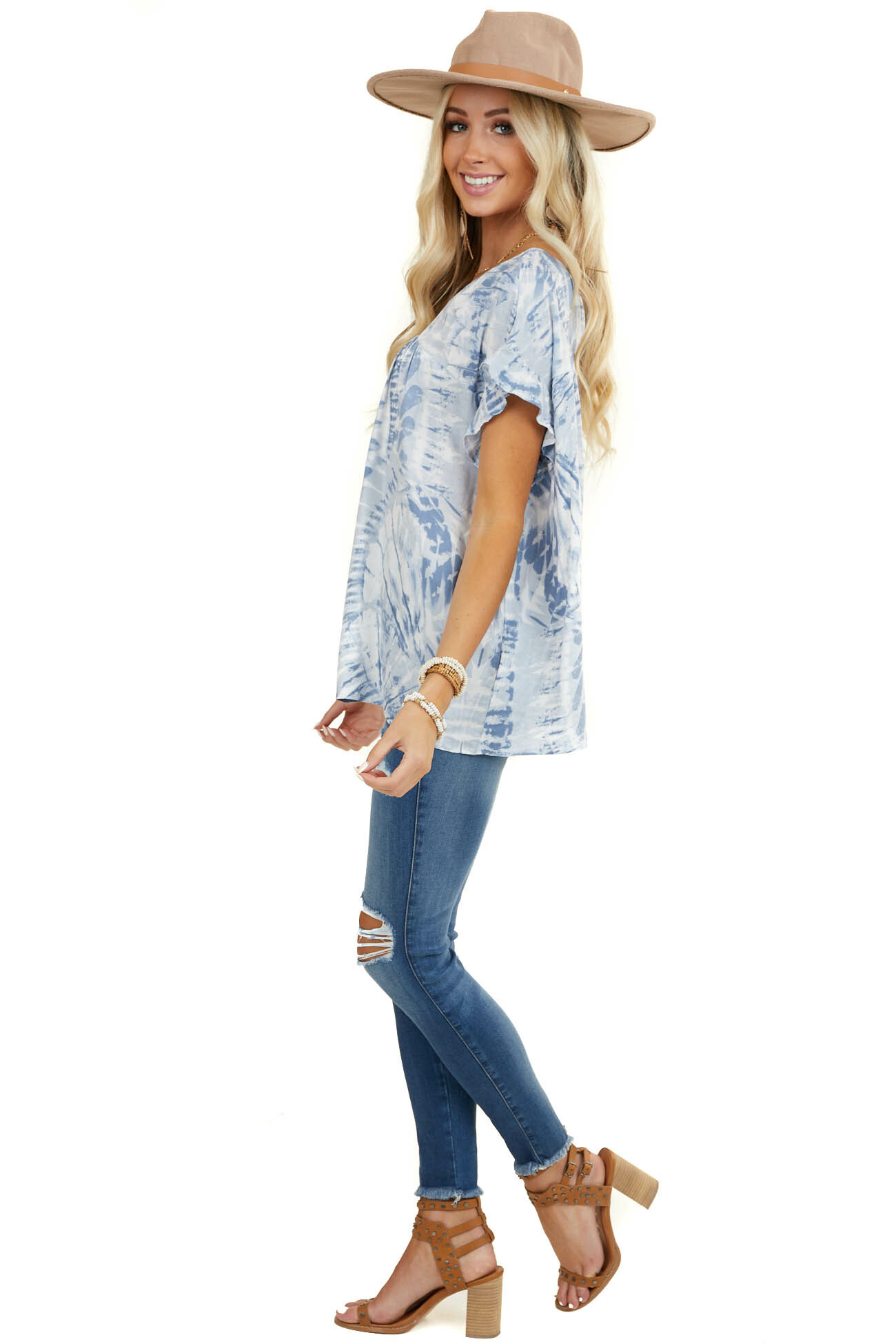 Slate Blue Tie Dye Blouse with Short Ruffle Sleeves