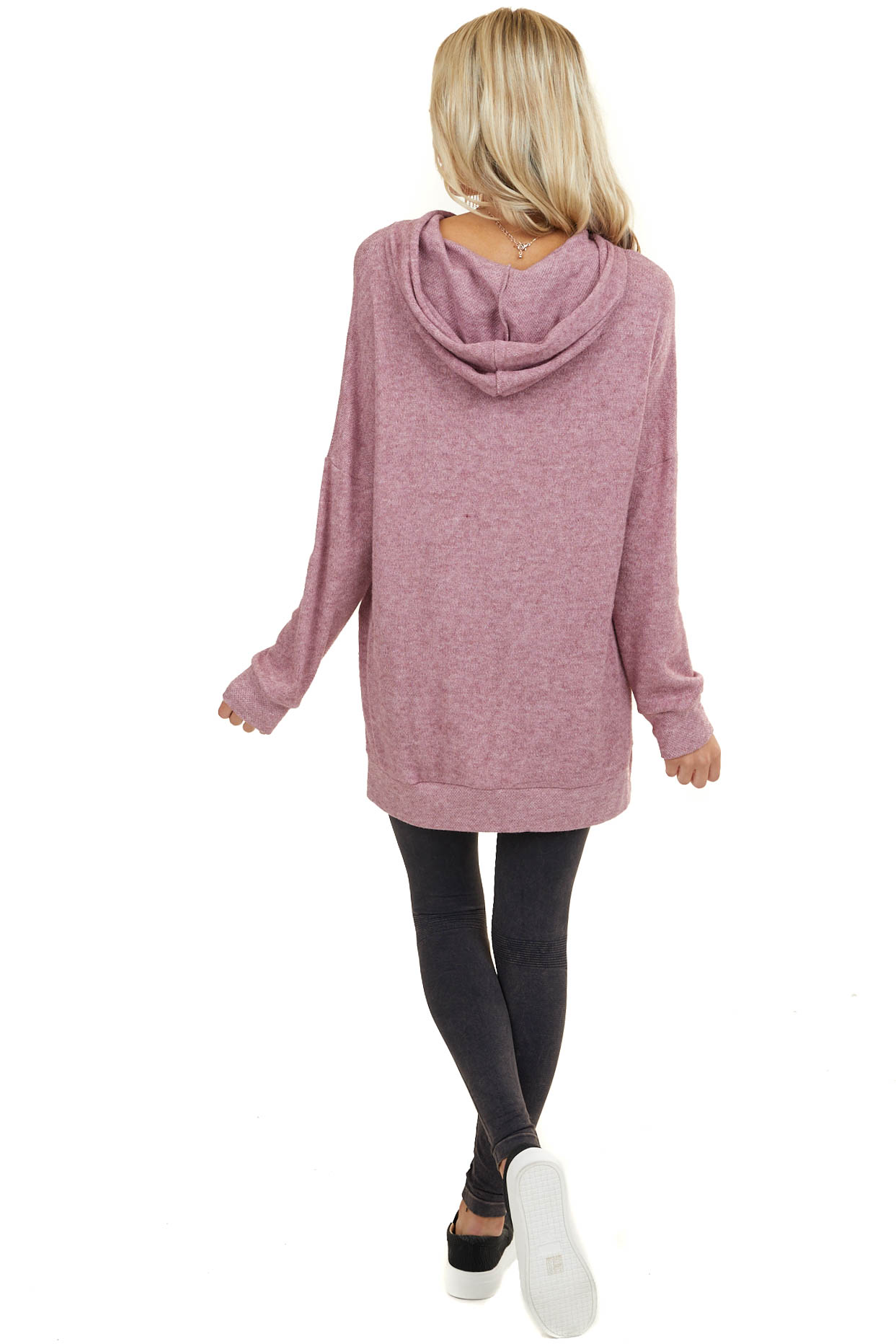 Mauve Textured Long Sleeve Sweater with Drawstring Hood