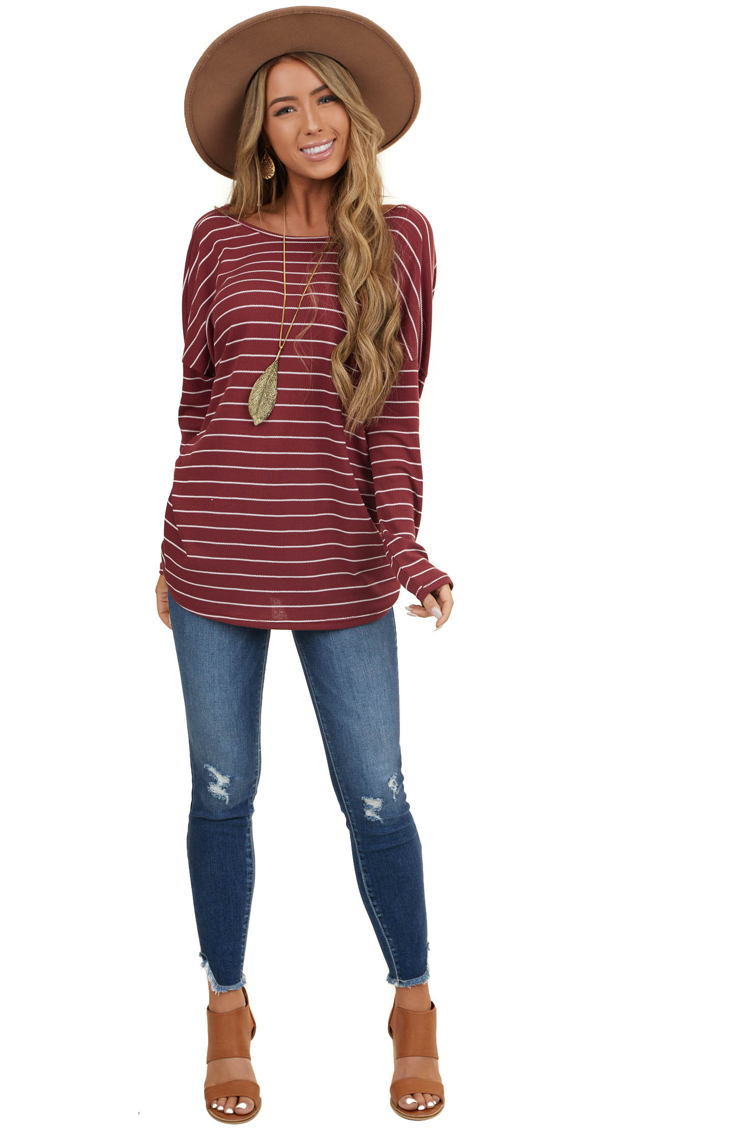Wine Striped Long Sleeve Top with Twisted Open Back Detail