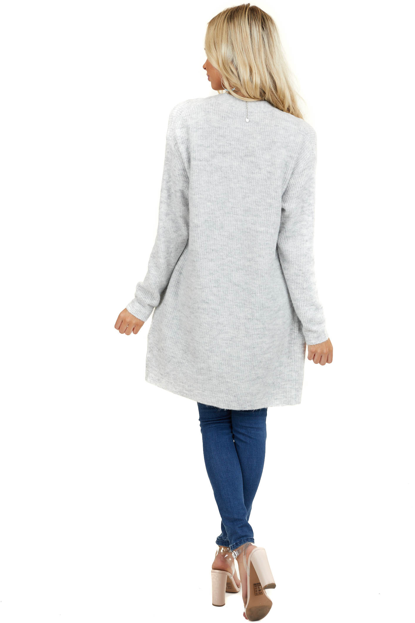 Dove Grey Open Front Sweater Cardigan with Pockets