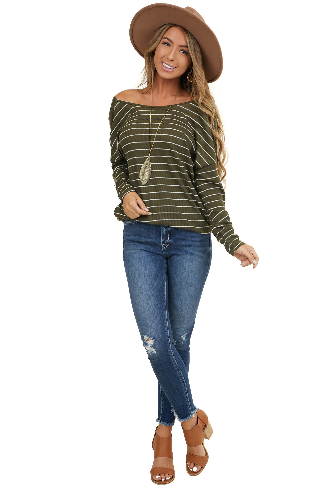 Olive Striped Long Sleeve Top with Twisted Open Back Detail
