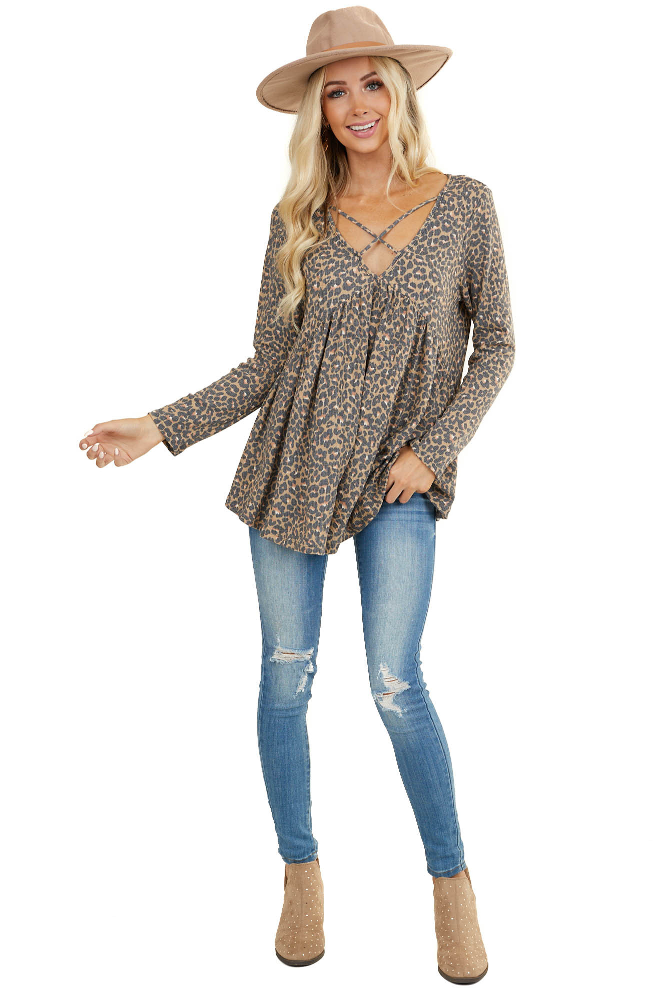 Camel Leopard Print Long Sleeve Top with Criss Cross Detail