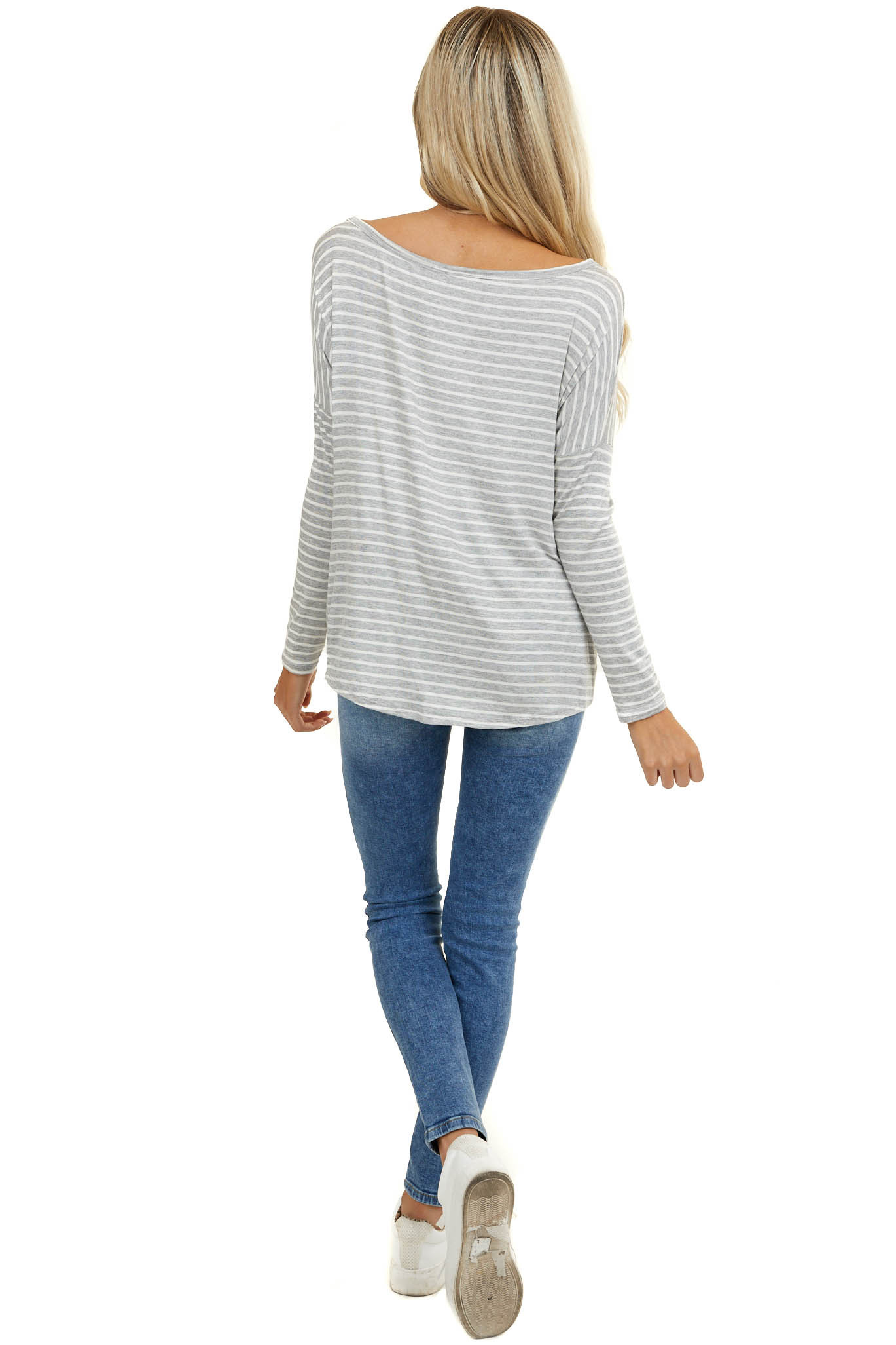 Dove Grey Striped Wide Neck Top with Front Twist