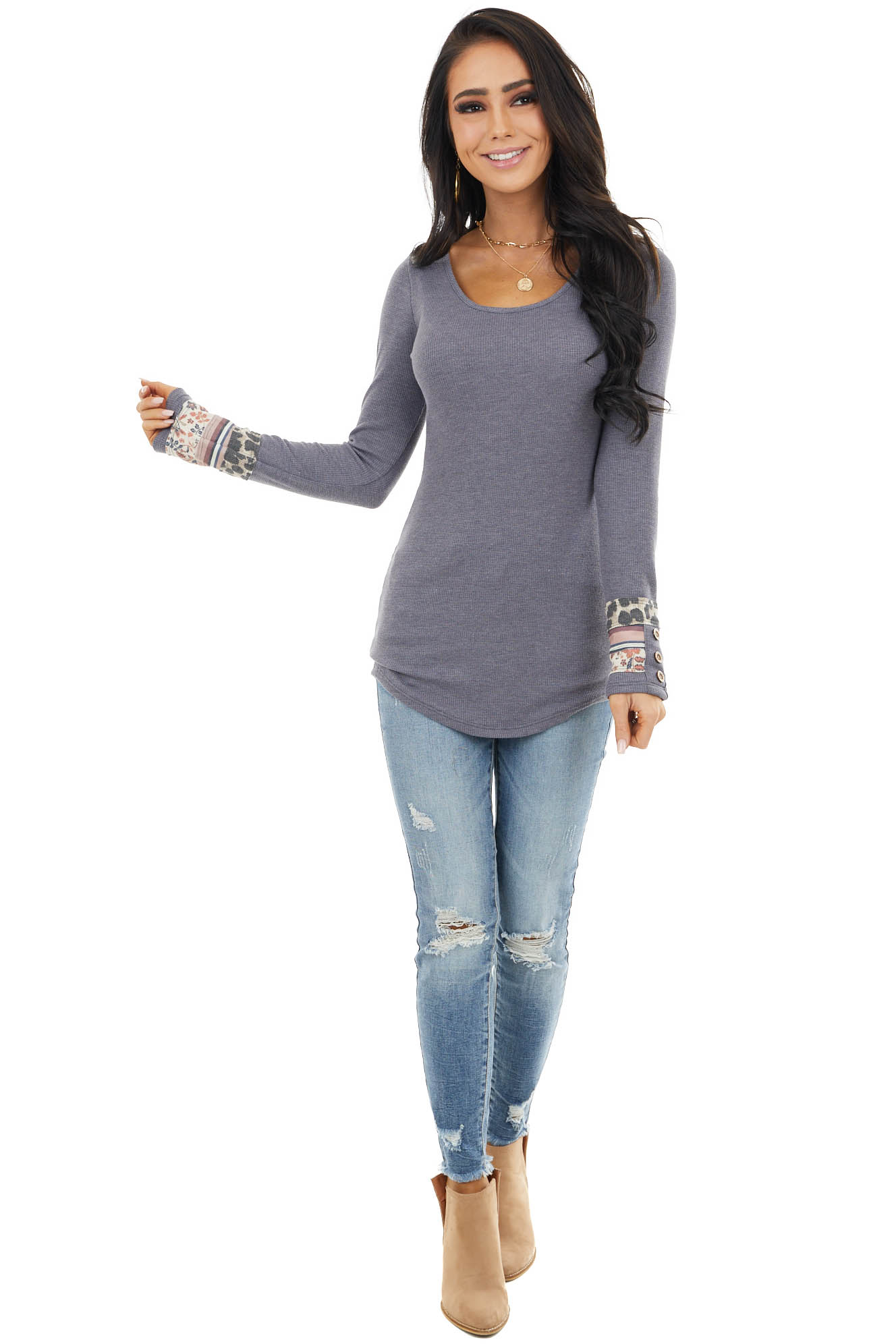 Dusty Navy Waffle Knit Top with Multiprint Cuff Detail