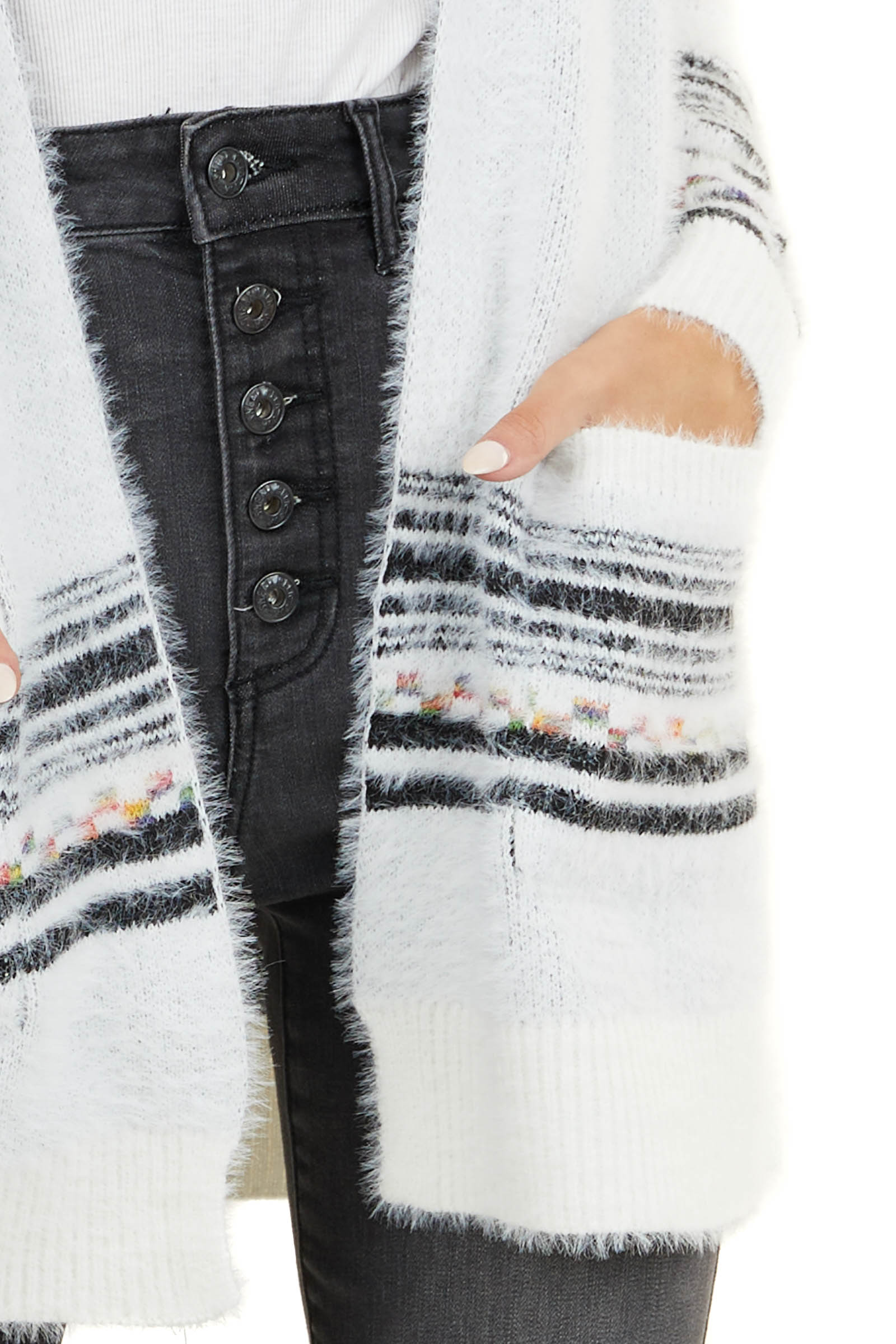 Off White and Black Printed Cardigan with Front Pockets