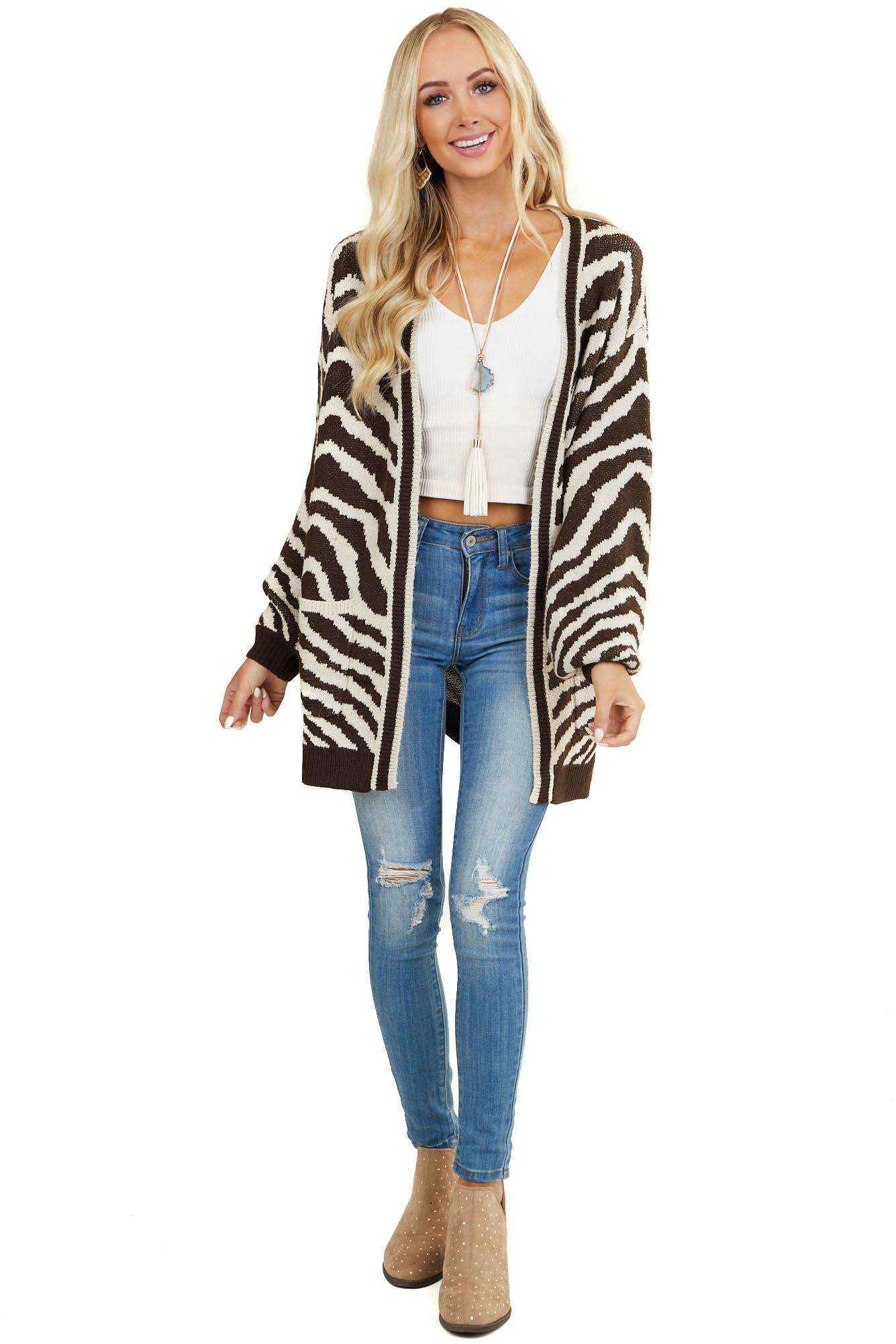 Oatmeal and Brown Zebra Sweater Cardigan with Pockets