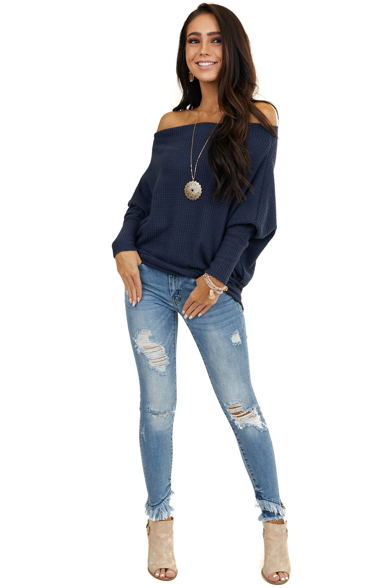 Navy Soft Waffle Knit Off The Shoulder Long Sleeve Top