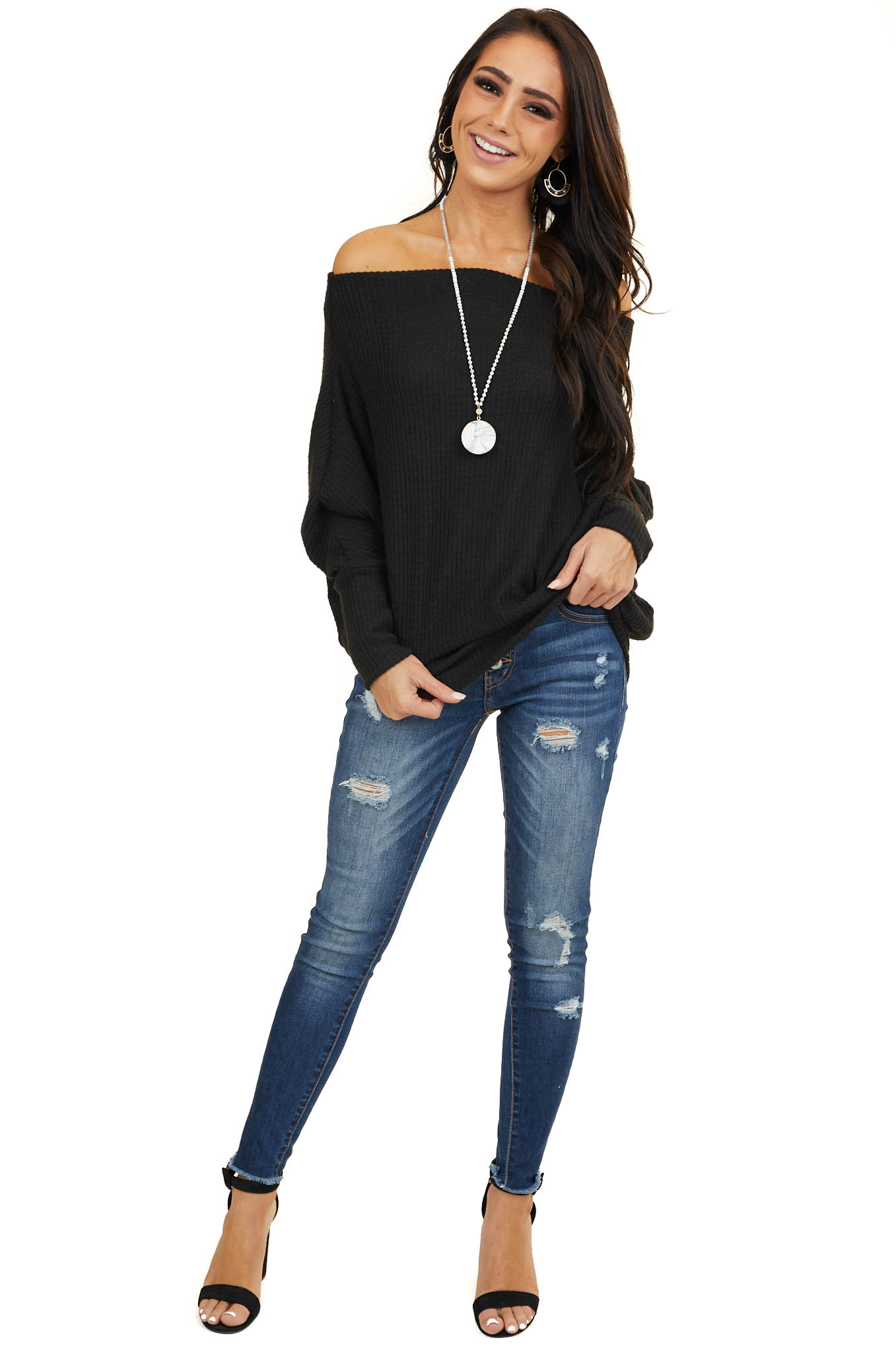 Black Soft Waffle Knit Off The Shoulder Long Sleeve Top