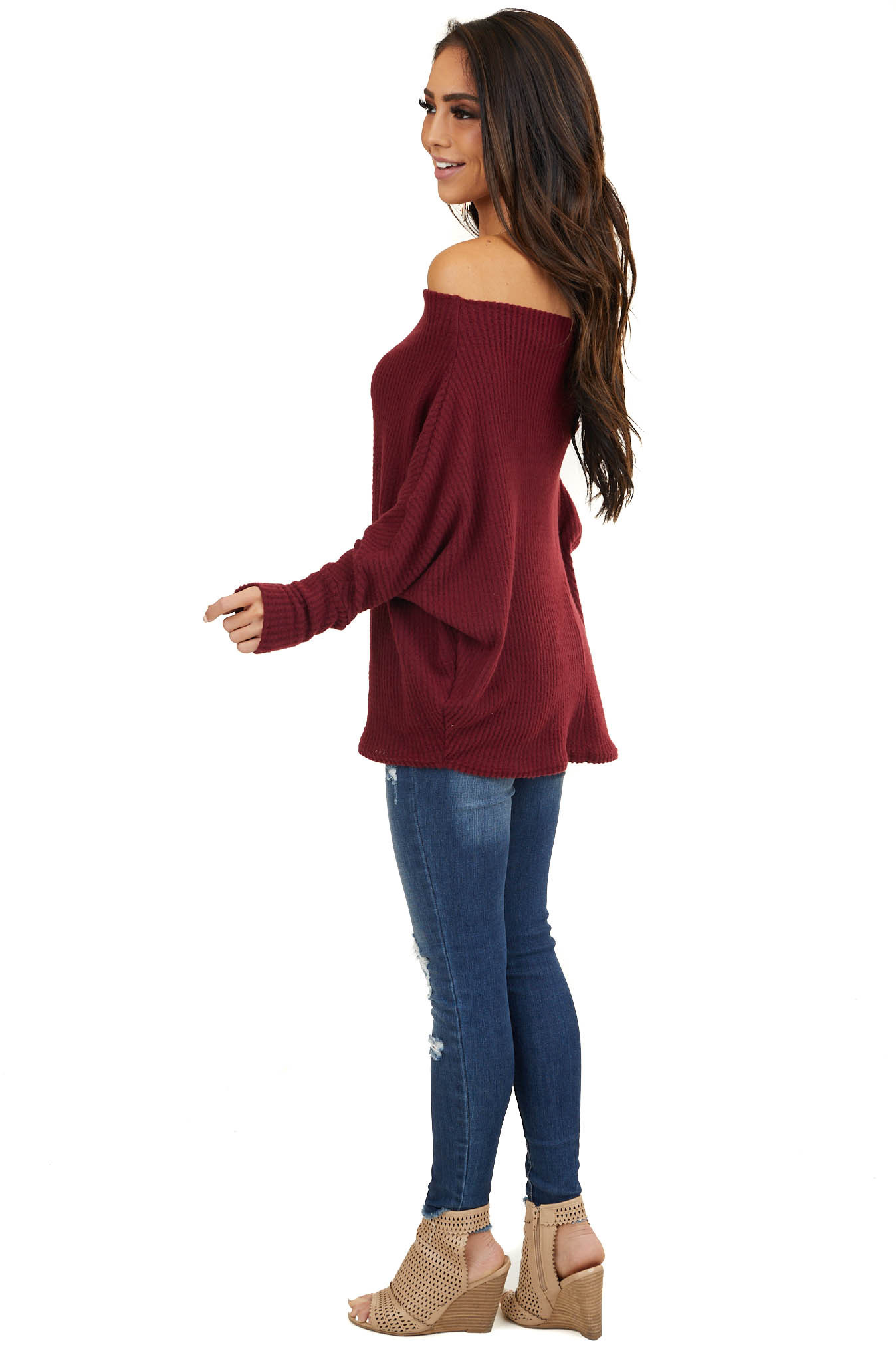 Maroon Soft Waffle Knit Off The Shoulder Long Sleeve Top