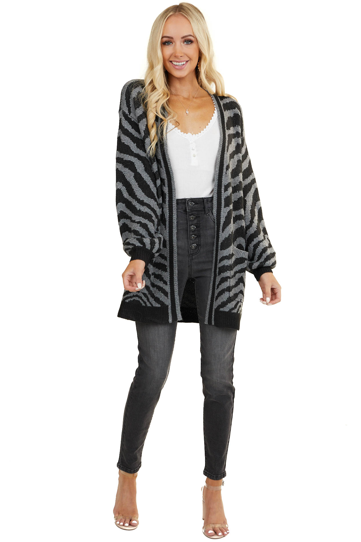 Charcoal and Black Zebra Sweater Cardigan with Pockets