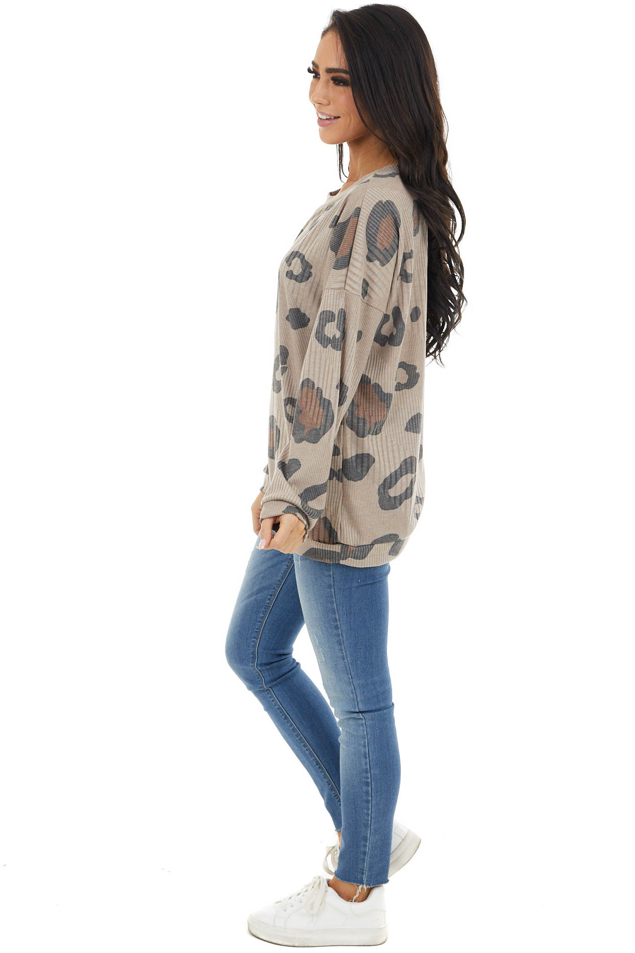 Taupe and Black Leopard Print Long Sleeve Ribbed Knit Top
