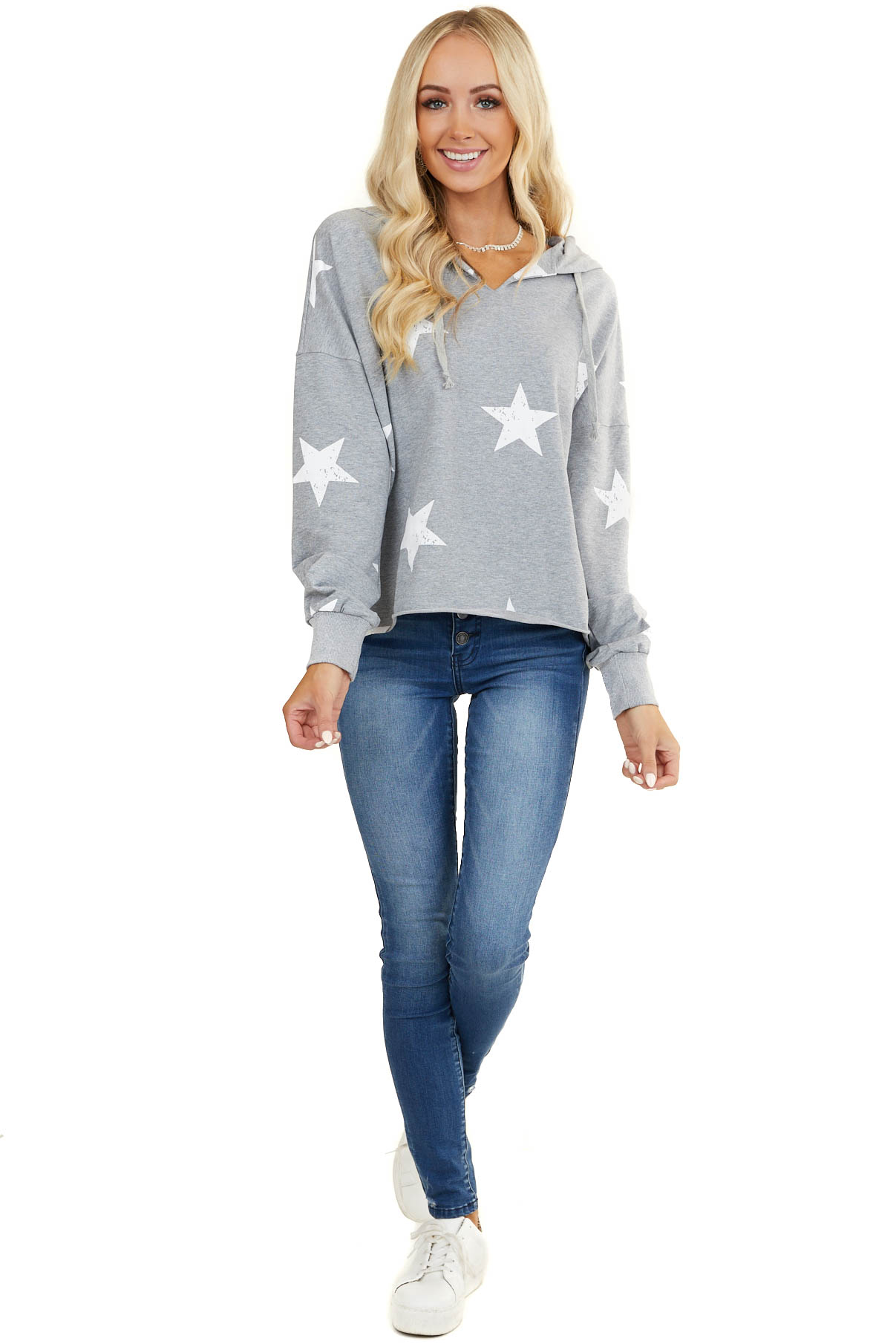 Heather Grey V Neck Hoodie with Faded White Star Print
