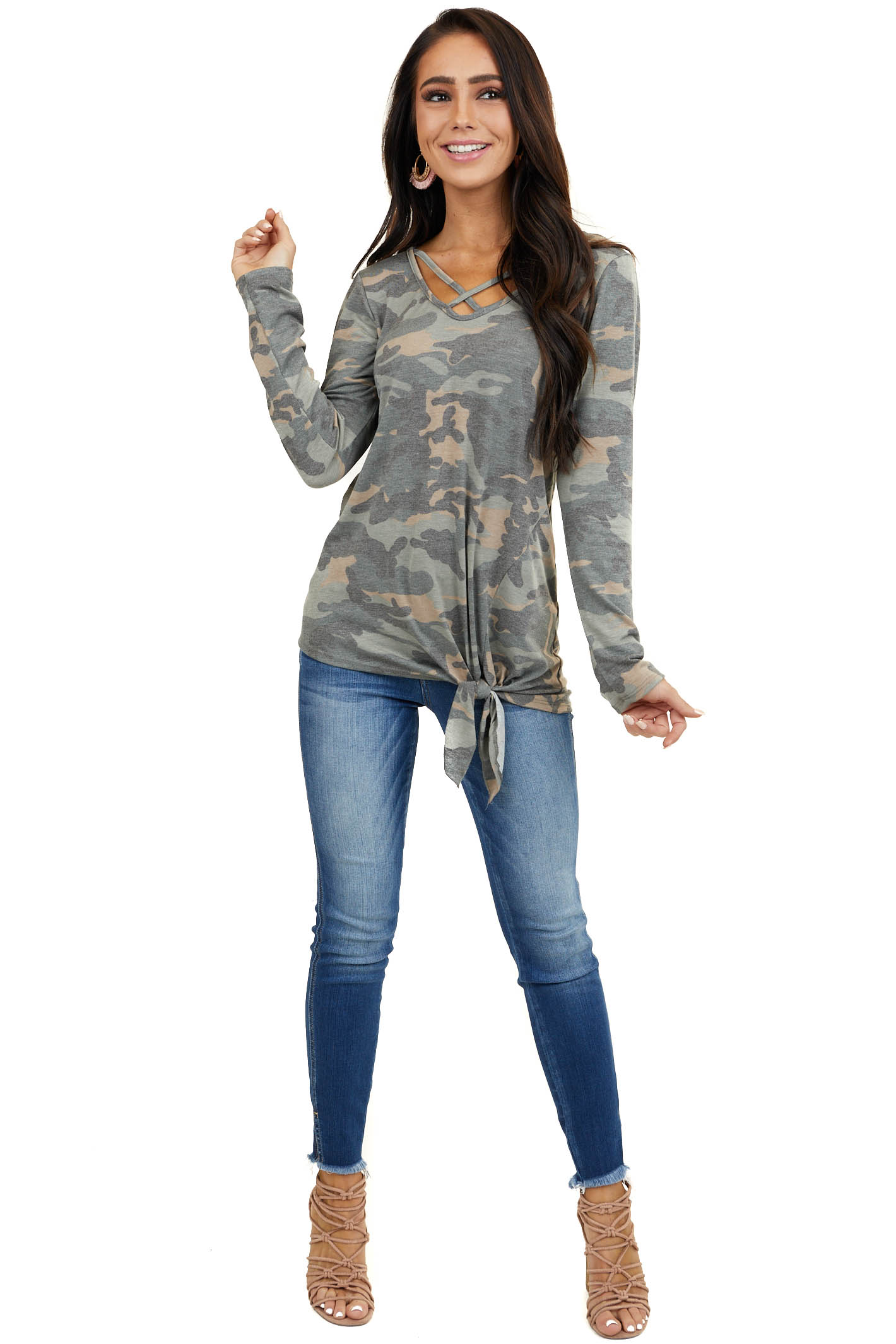 Sage Camo Long Sleeve Criss Cross V Neck Top with Front Tie