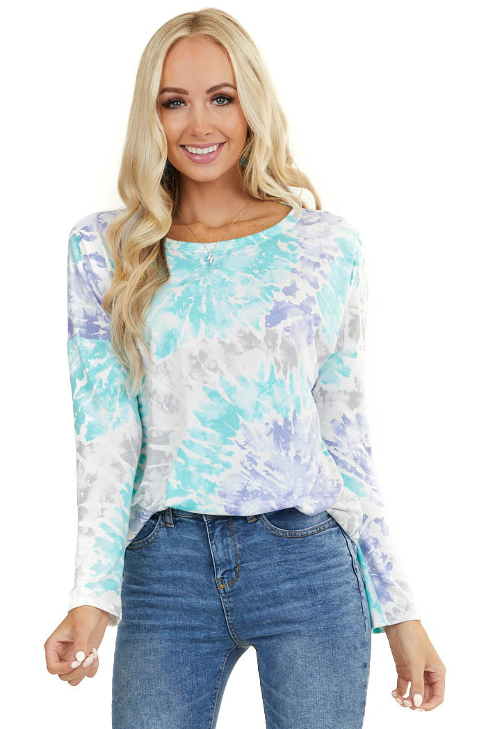 Aqua and Periwinkle Tie Dye Knit Top with Long Sleeves
