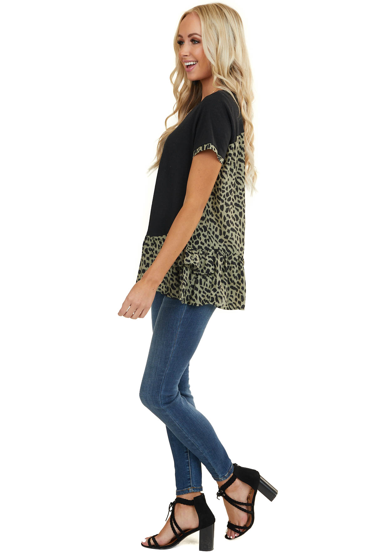 Black and Sage Leopard Print Top with Ruffle Details