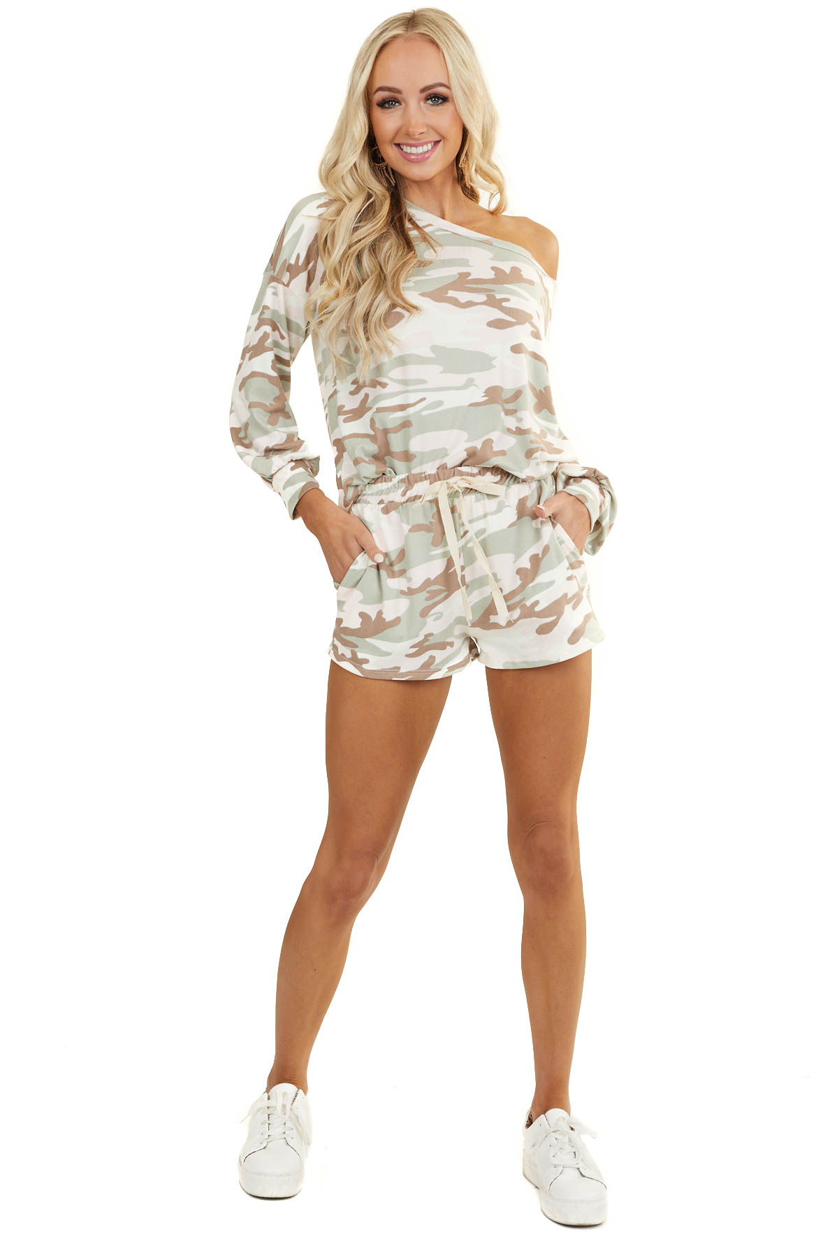 Light Pink Camo Soft Knit Lounge Set with Long Sleeve Top
