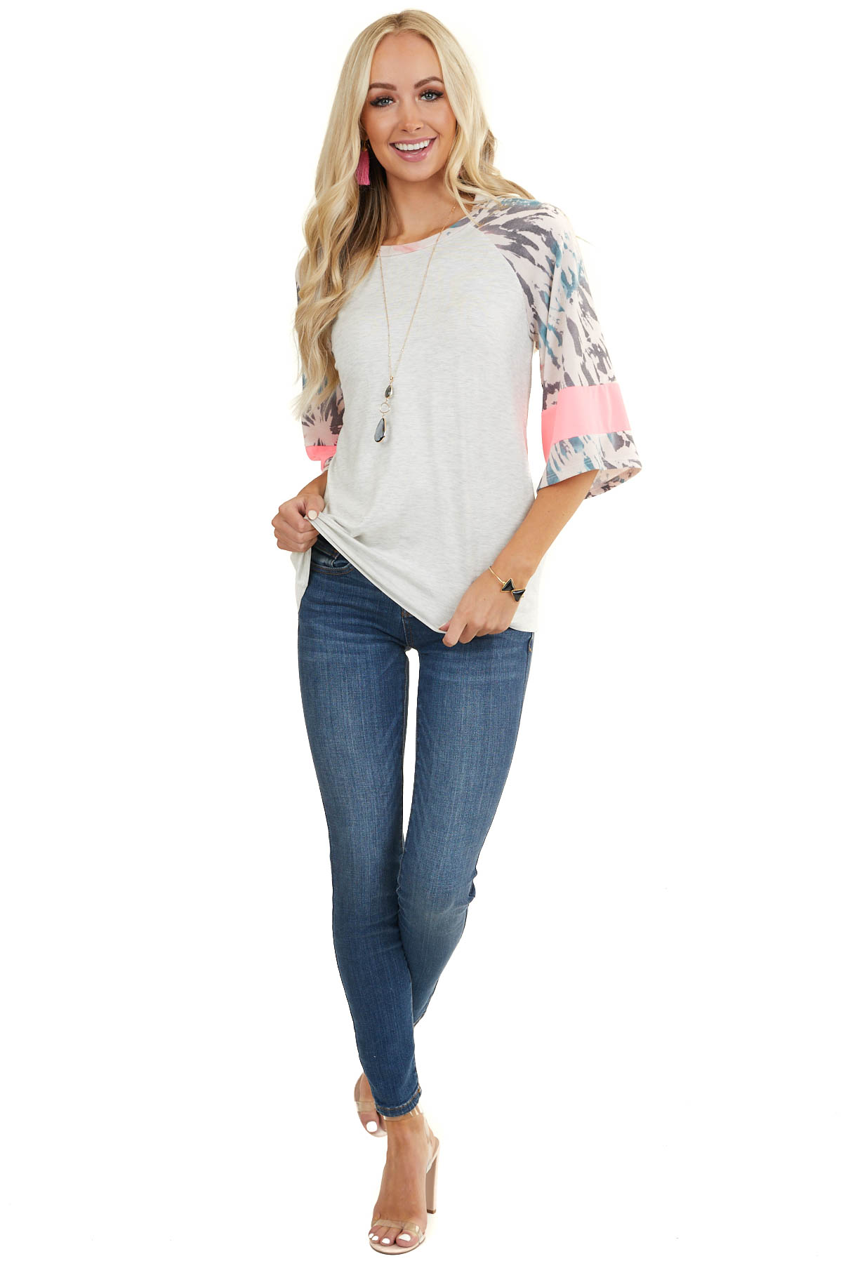 Dove Grey Top with 3/4 Sleeves with Tie Dye and Colorblock