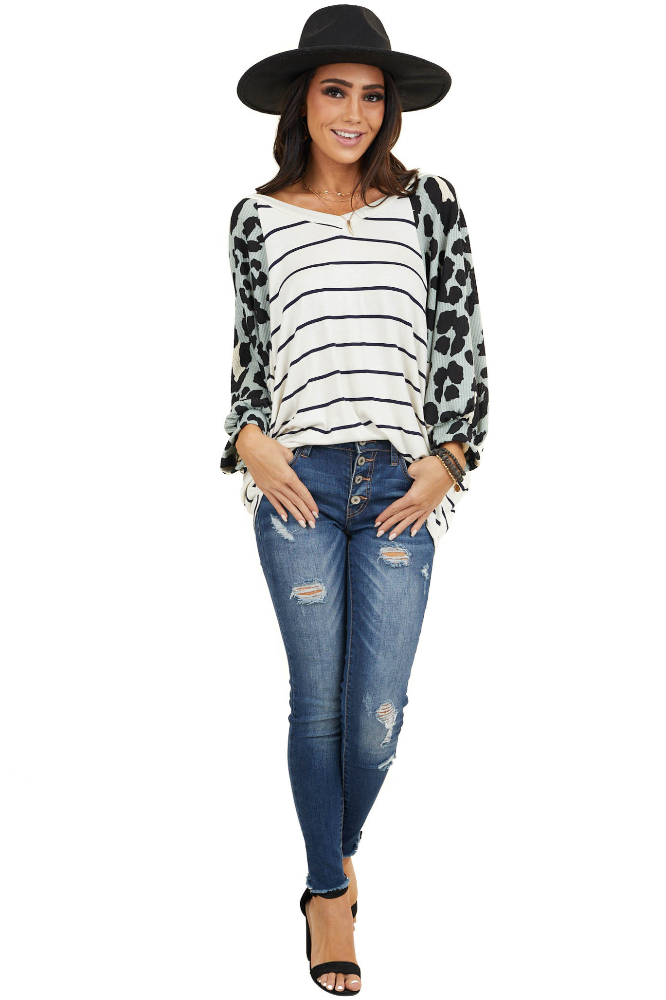 Ivory Striped Top with Teal Leopard Print Dolman Sleeves