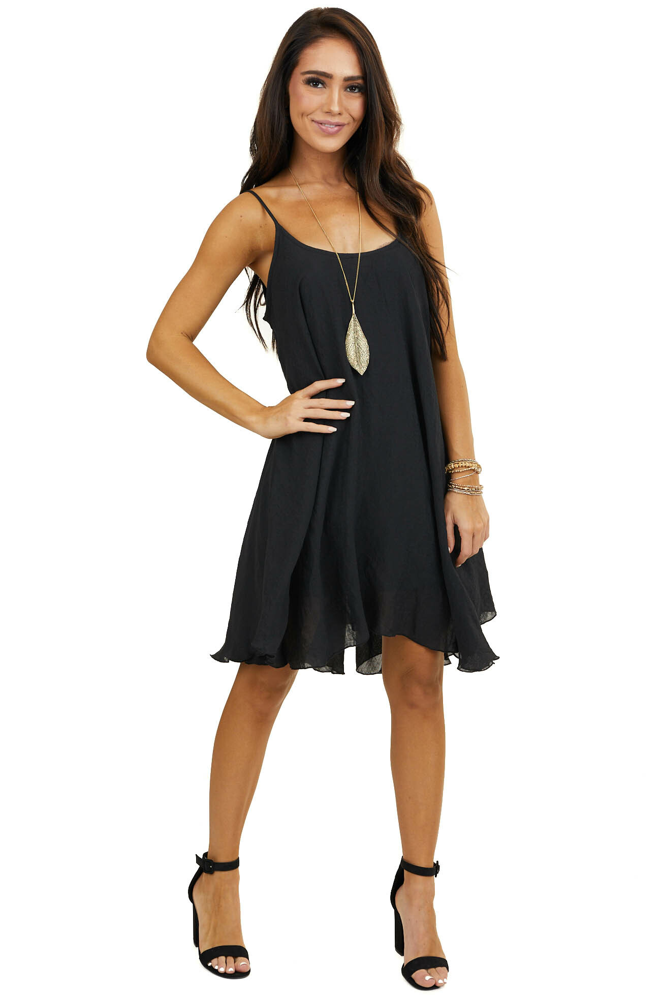 Black Woven Short Swing Dress with Spaghetti Straps