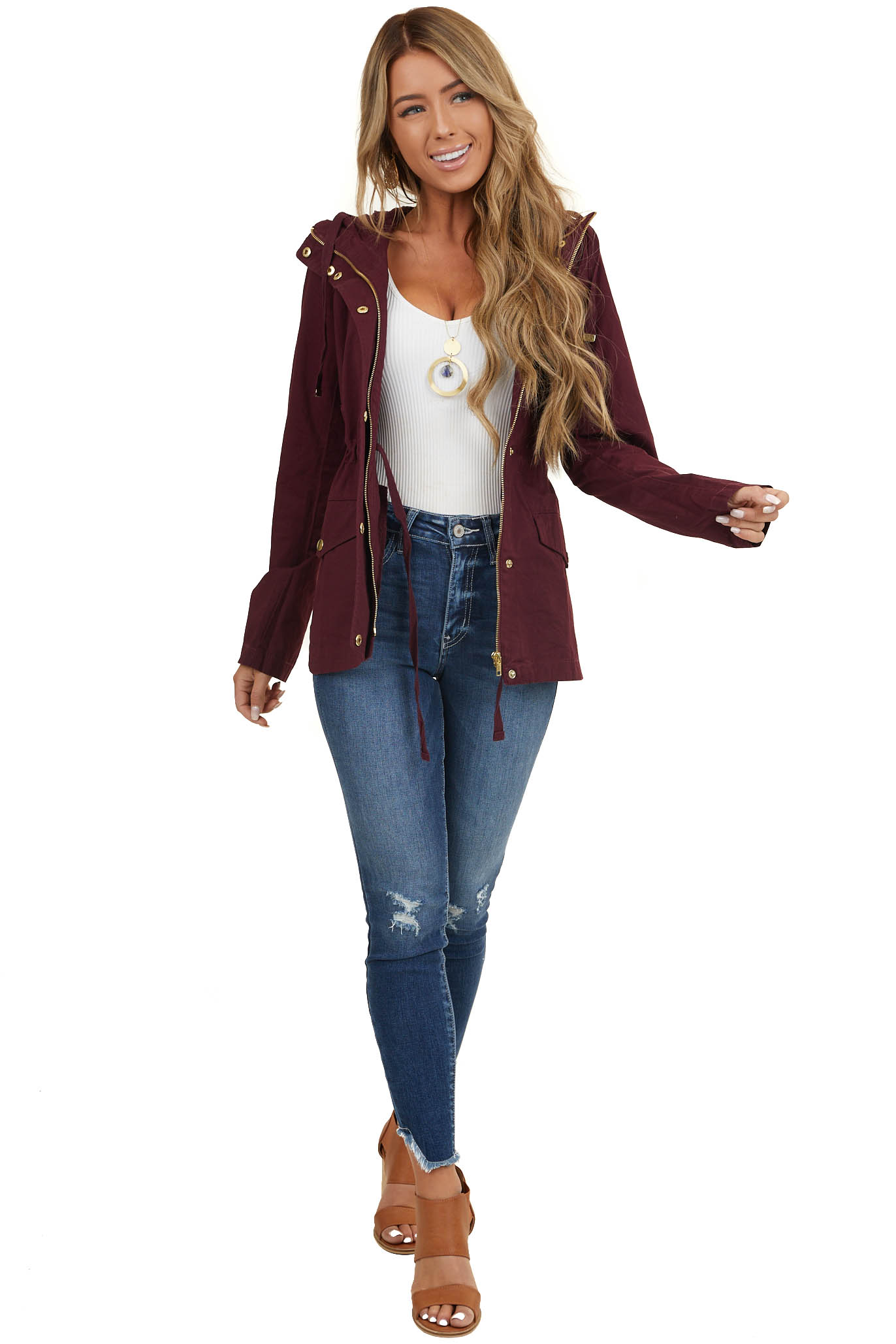 Plum Utility Jacket with Hood and Gold Button Details