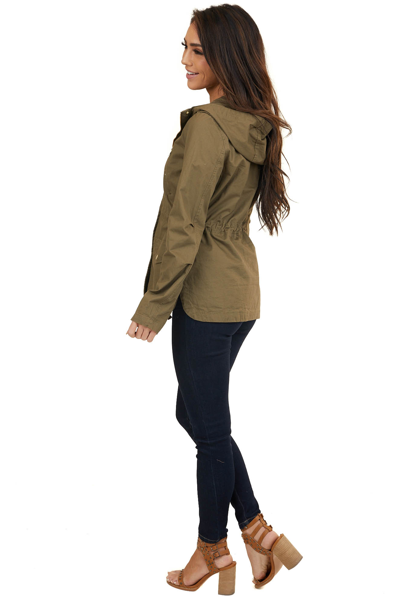 Olive Utility Jacket with Hood and Gold Button Details