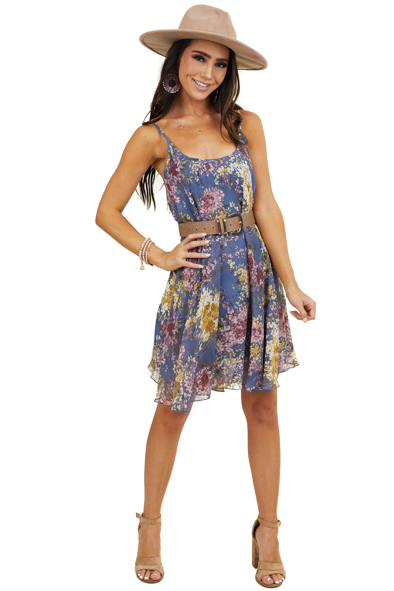 Periwinkle Floral Print Short Dress with Spaghetti Straps
