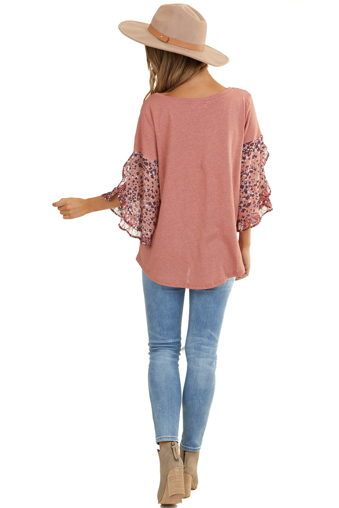 Dusty Coral Knit Top with Ruffled Multiprint Sleeves