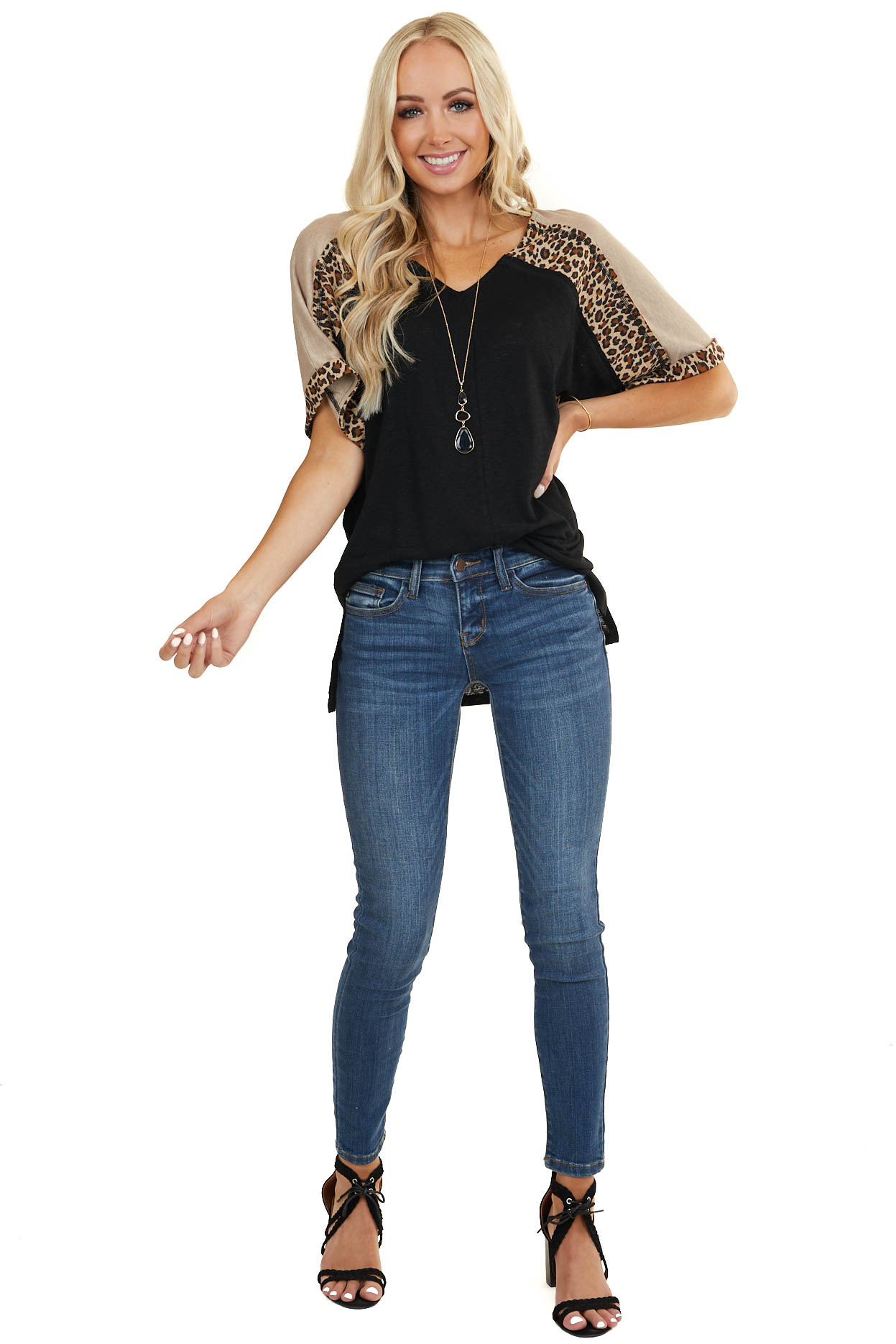 Black Knit Top with Leopard Print Color Block Sleeves