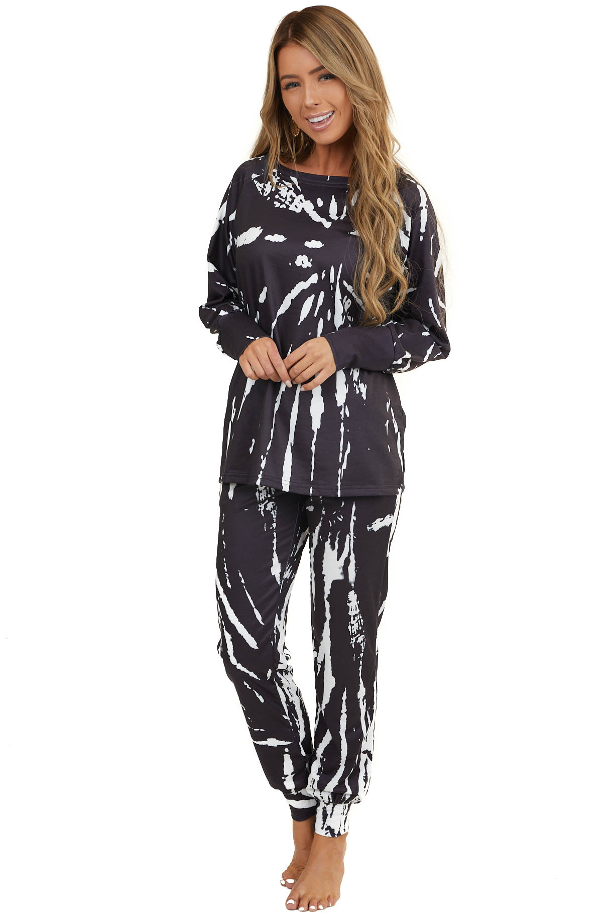 Black and White Tie Dye Long Sleeve Top and Jogger Pant Set