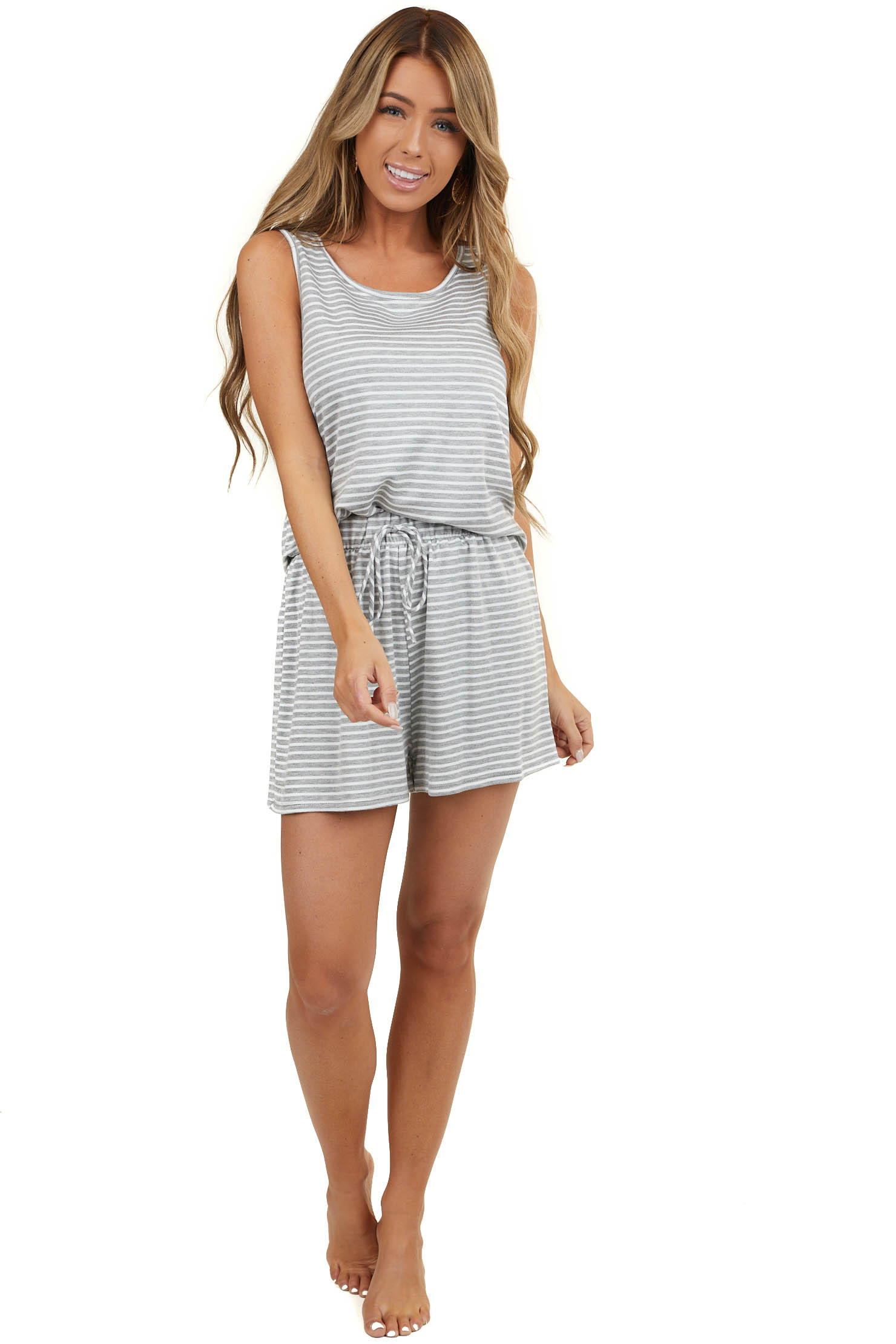 Heather Grey and White Striped Tank and Shorts Two Piece Set