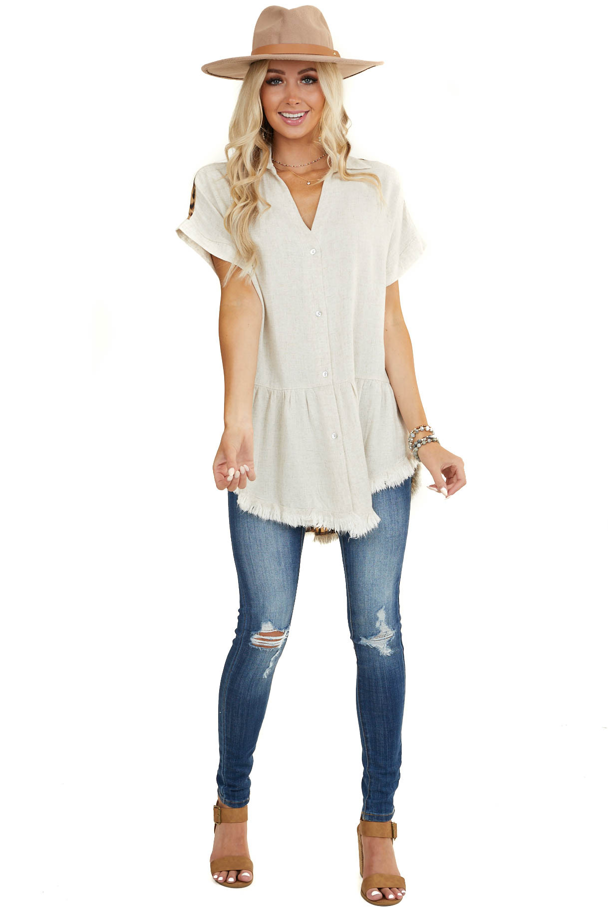 Oatmeal Linen Button Up Top with Leopard Print Contrast