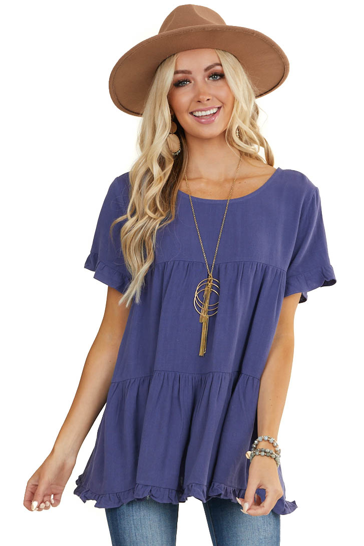 Dusty Blue Tiered Woven Top with Short Ruffled Sleeves
