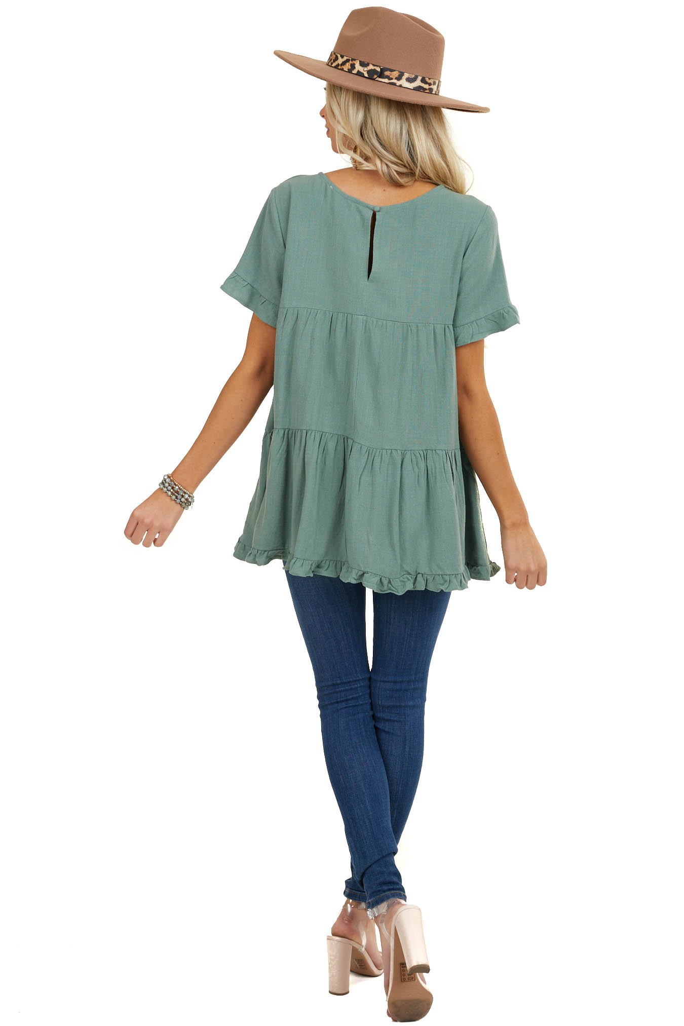 Dusty Sage Tiered Woven Top with Short Ruffled Sleeves