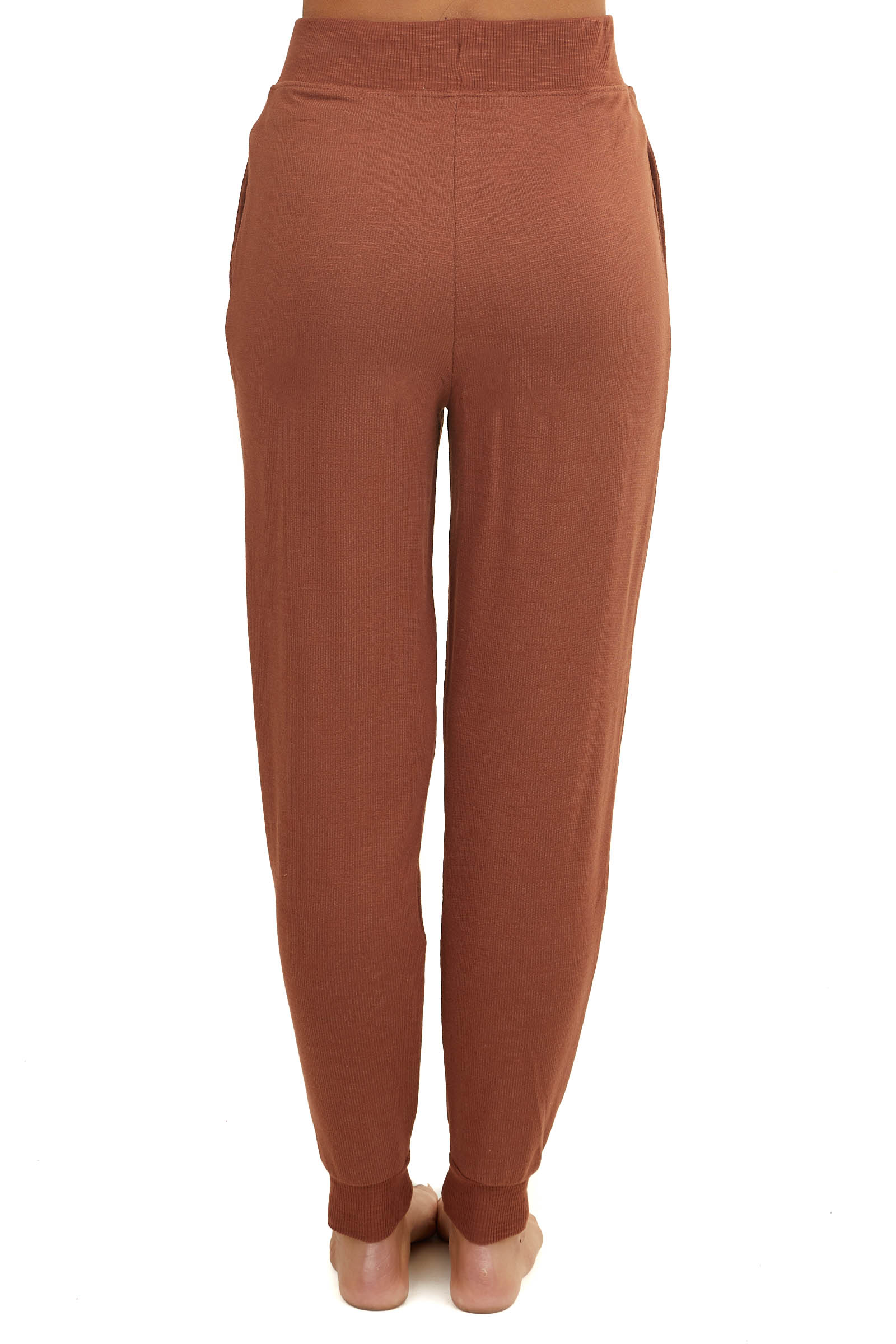 Caramel Knit Joggers with Drawstring and Side Pockets