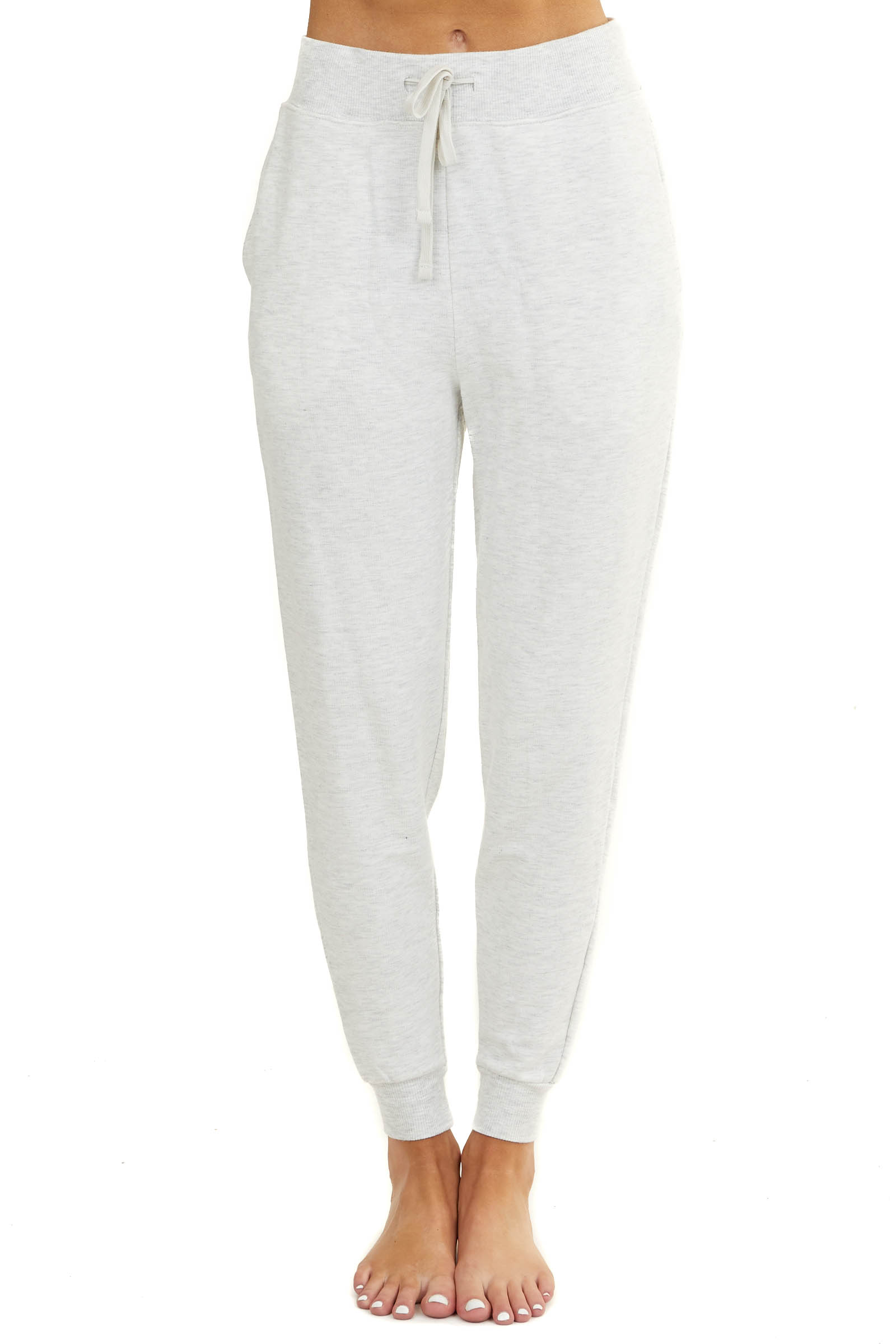 Heathered Pale Grey Joggers with Drawstring and Side Pockets