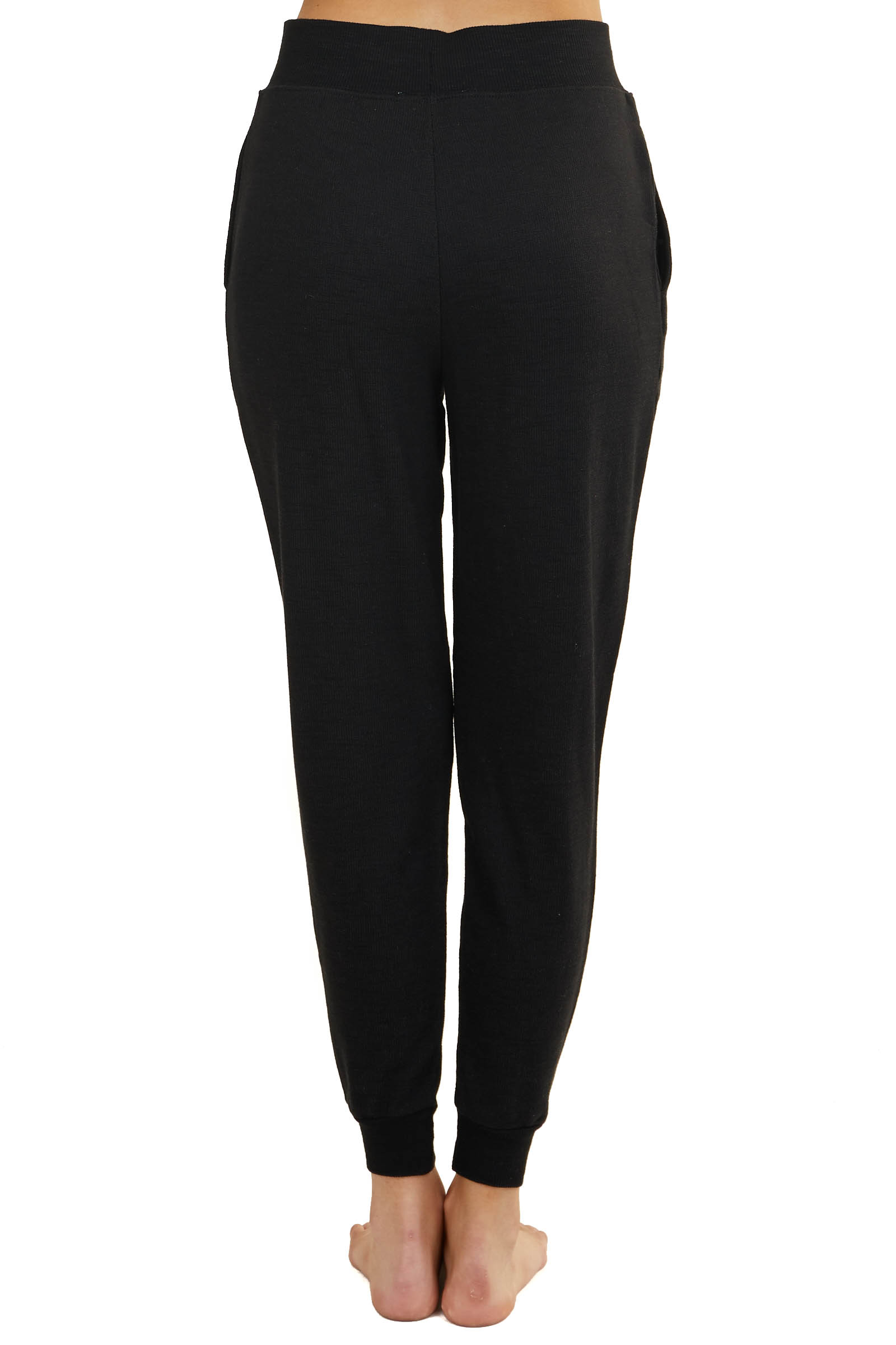 Black Knit Joggers with Drawstring and Side Pockets
