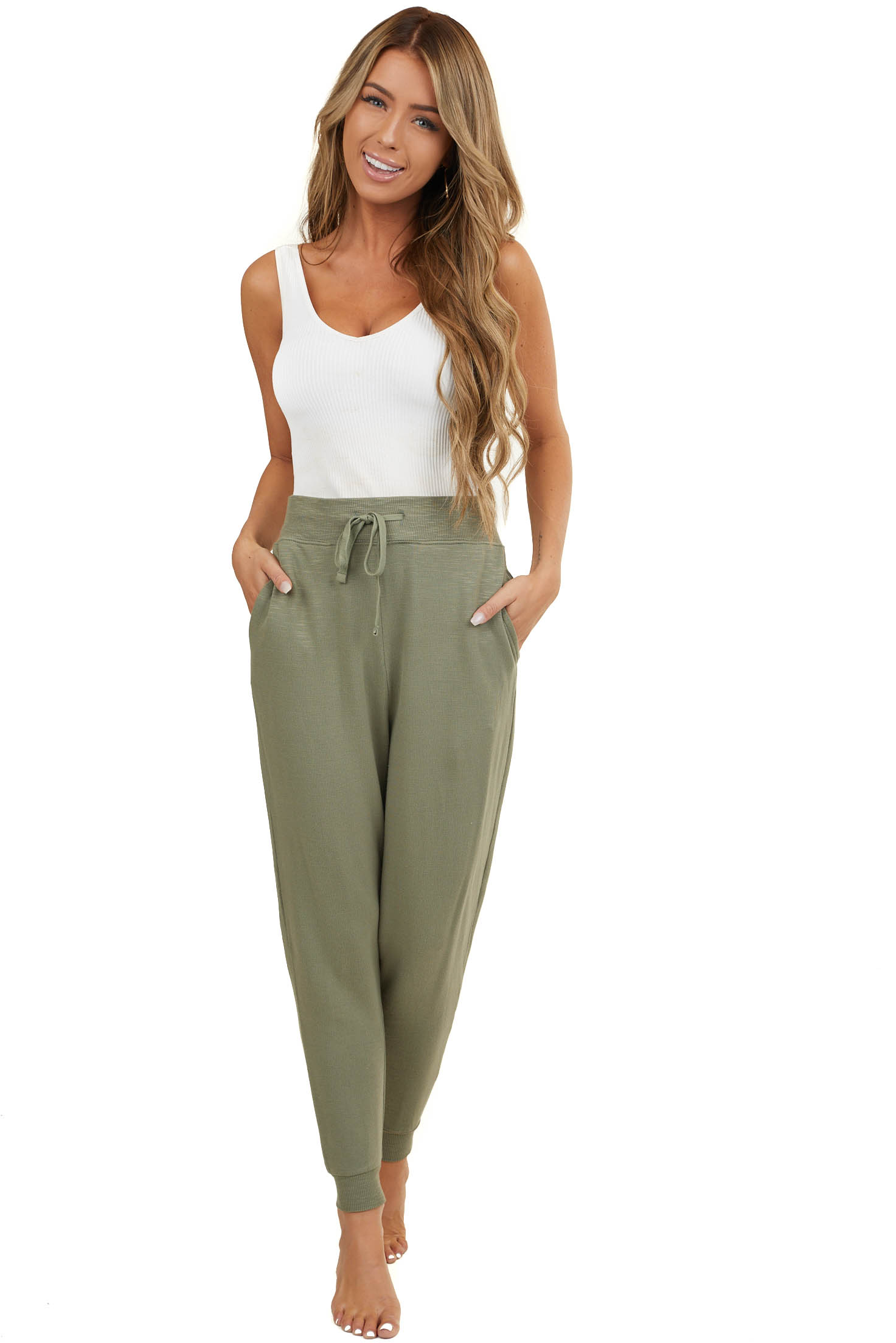 Dusty Sage Knit Joggers with Drawstring and Side Pockets