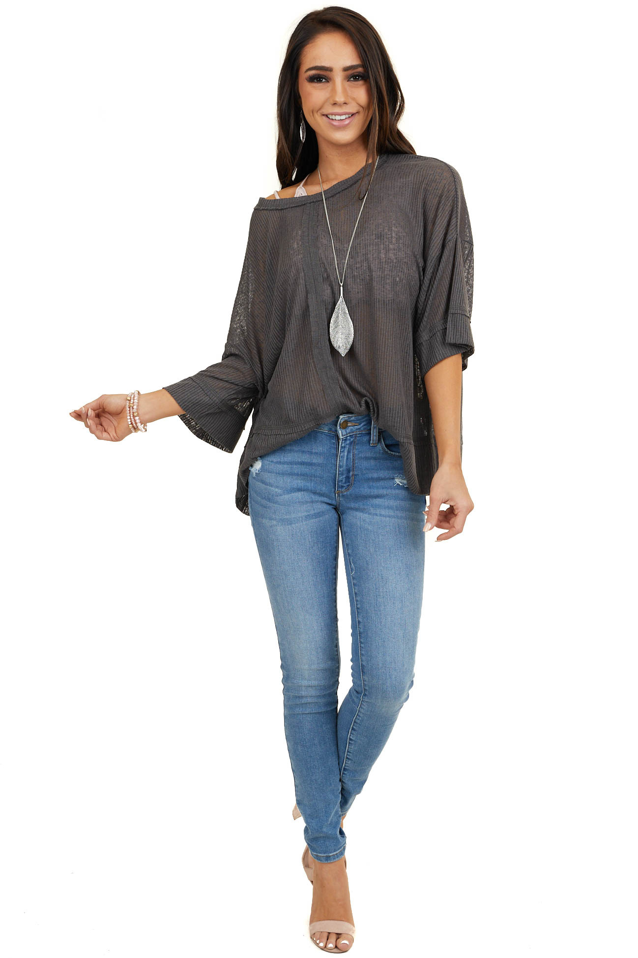 Charcoal Ribbed Knit Top with 3/4 Length Drop Sleeves