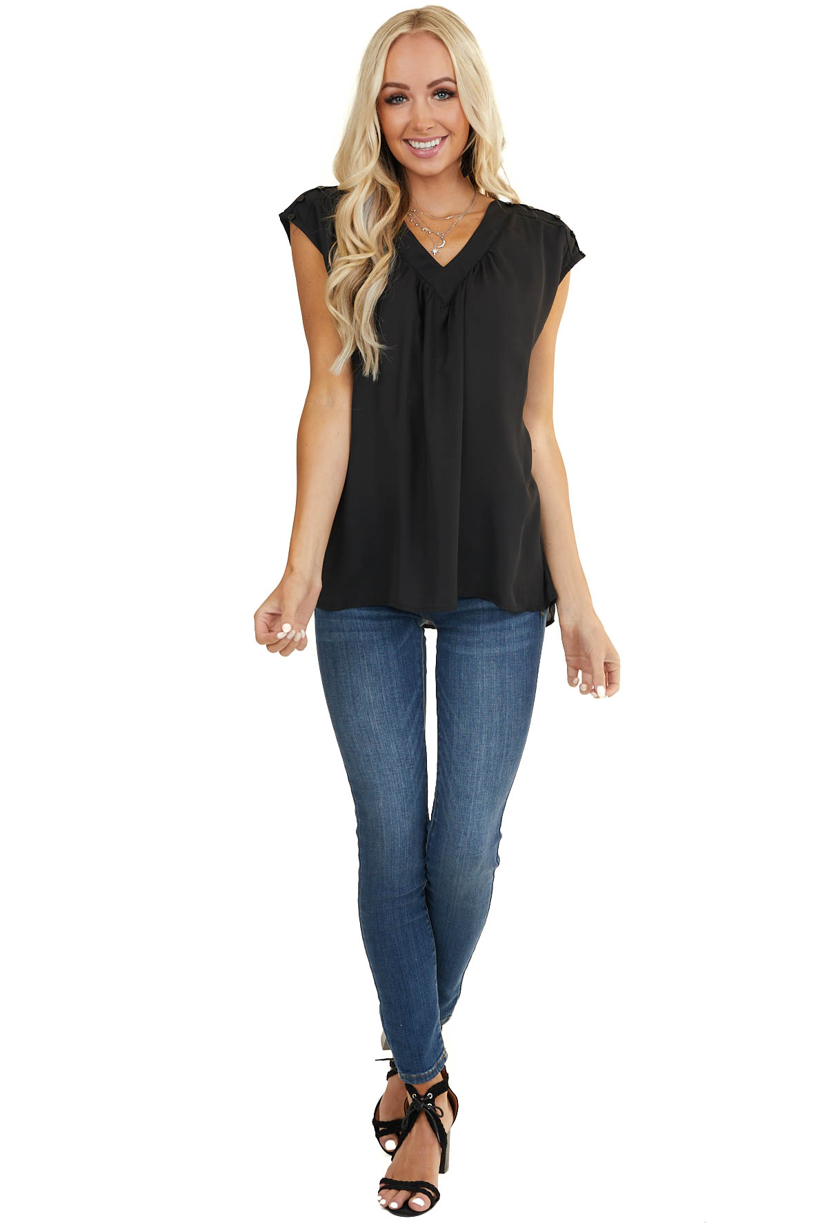 Black Short Sleeve V Neck Woven Top with Button Details