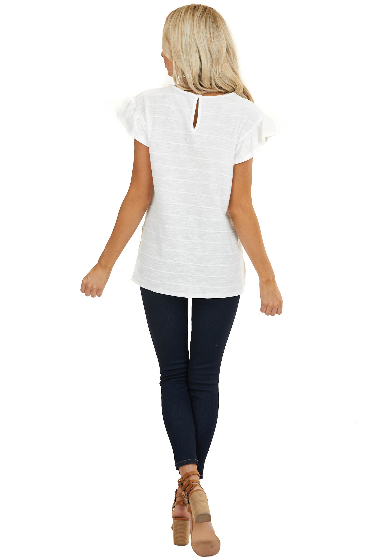 Off White Textured Woven Top with Short Ruffled Sleeves
