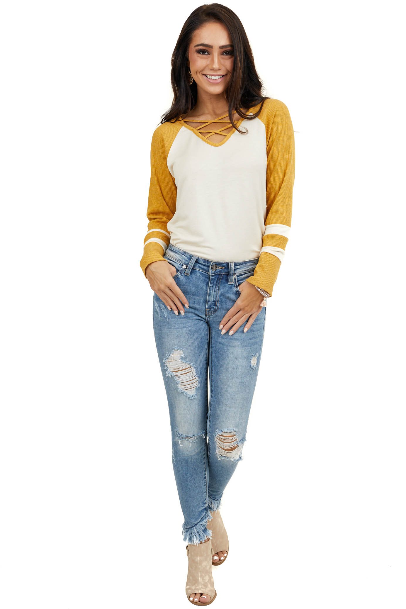 Cream Top with Mustard Waffle Knit Contrast Sleeves