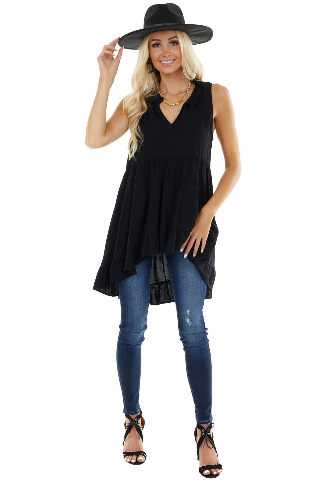 Black Sleeveless Tunic Dress with High Low Hemline