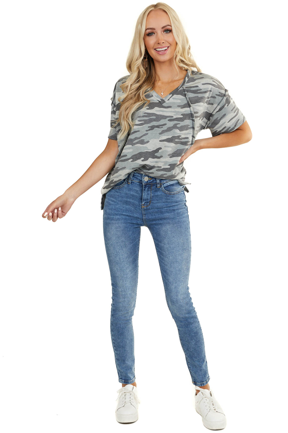 Grey Camo Short Sleeve Knit Top with Raw Seam Details