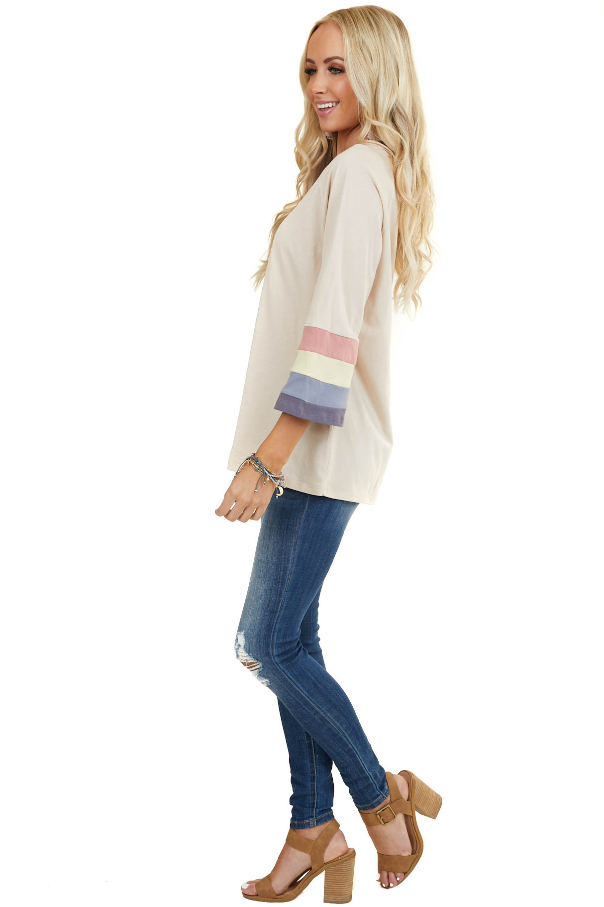 Oatmeal 3/4 Sleeve Knit Top with Trim and Striped Contrast