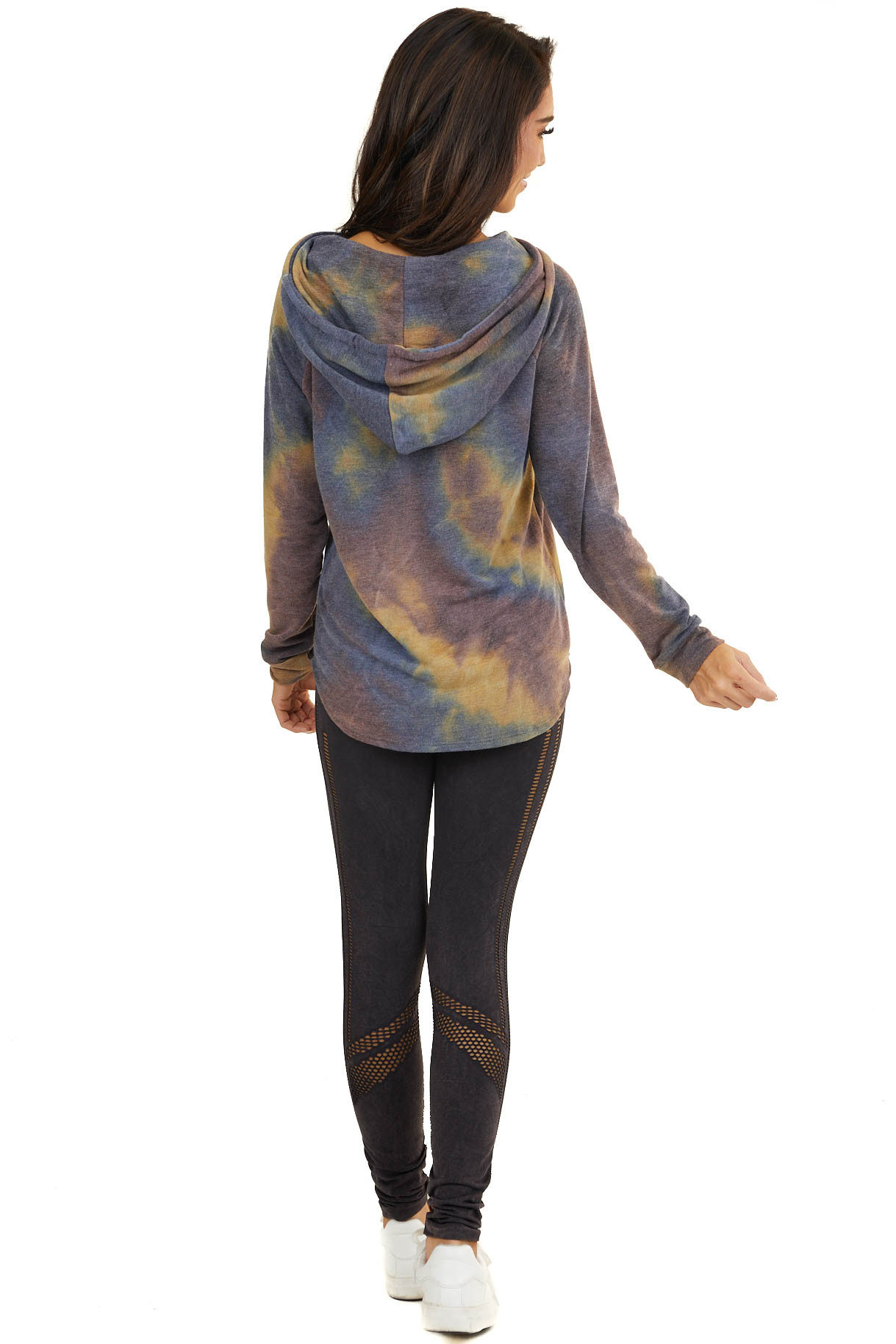 Dusty Blue and Lilac Tie Dye Hoodie with Gold Sequin Pocket